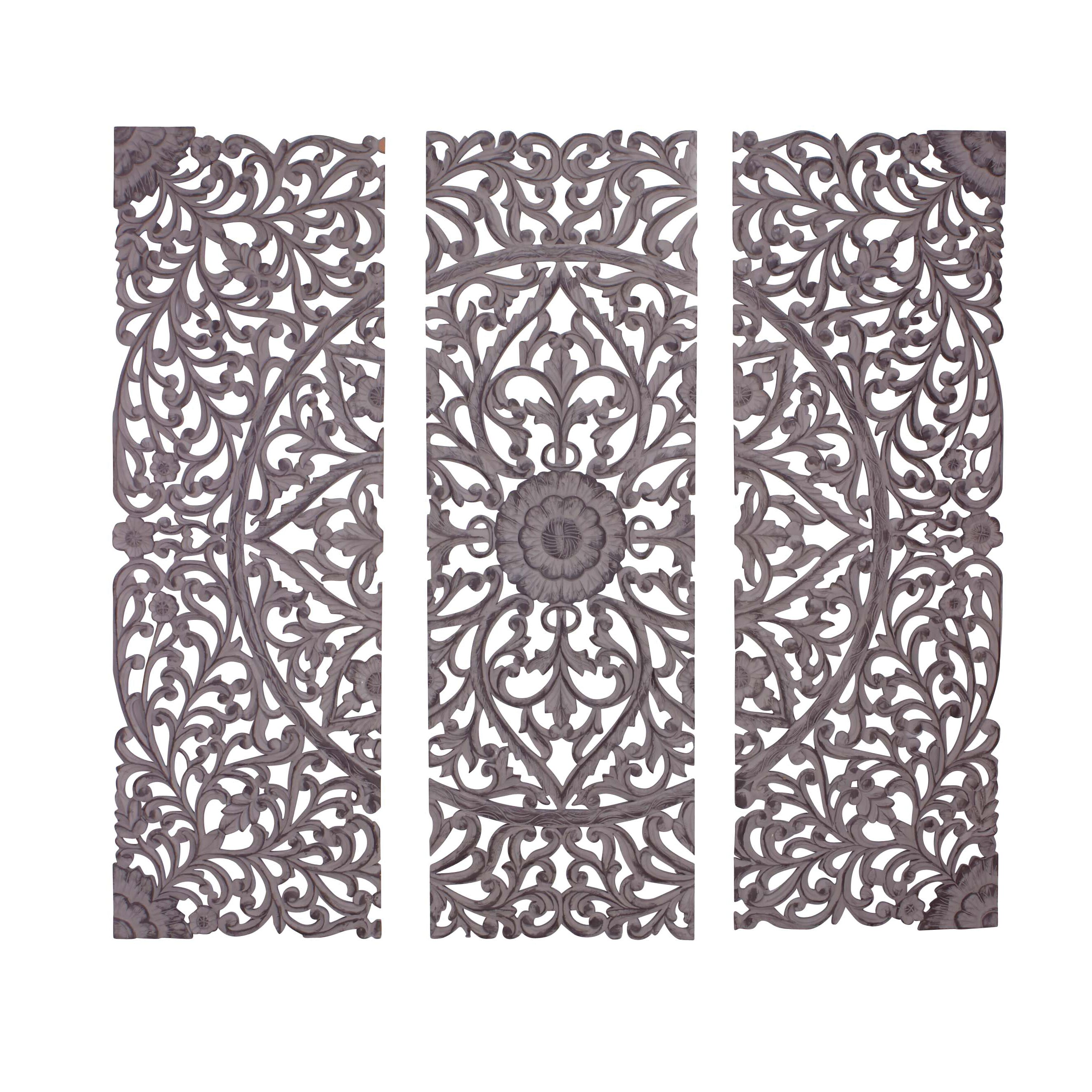 3 piece the must have wood carved panel wall d cor set - Carved wood wall art panels ...