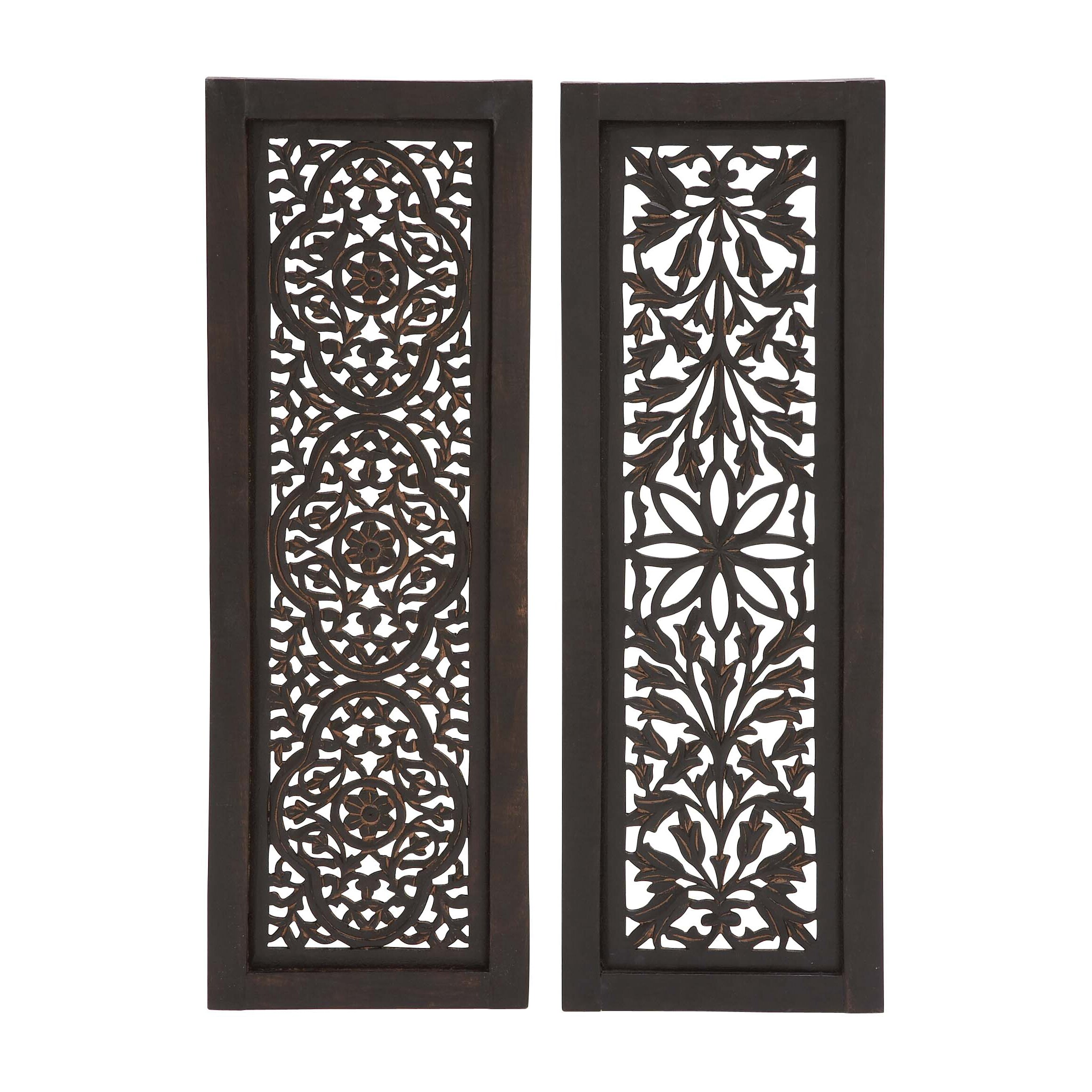 Panel Wall D Cor By Woodland Imports: Woodland Imports 2 Piece Beautiful Styled Wood Panel Wall