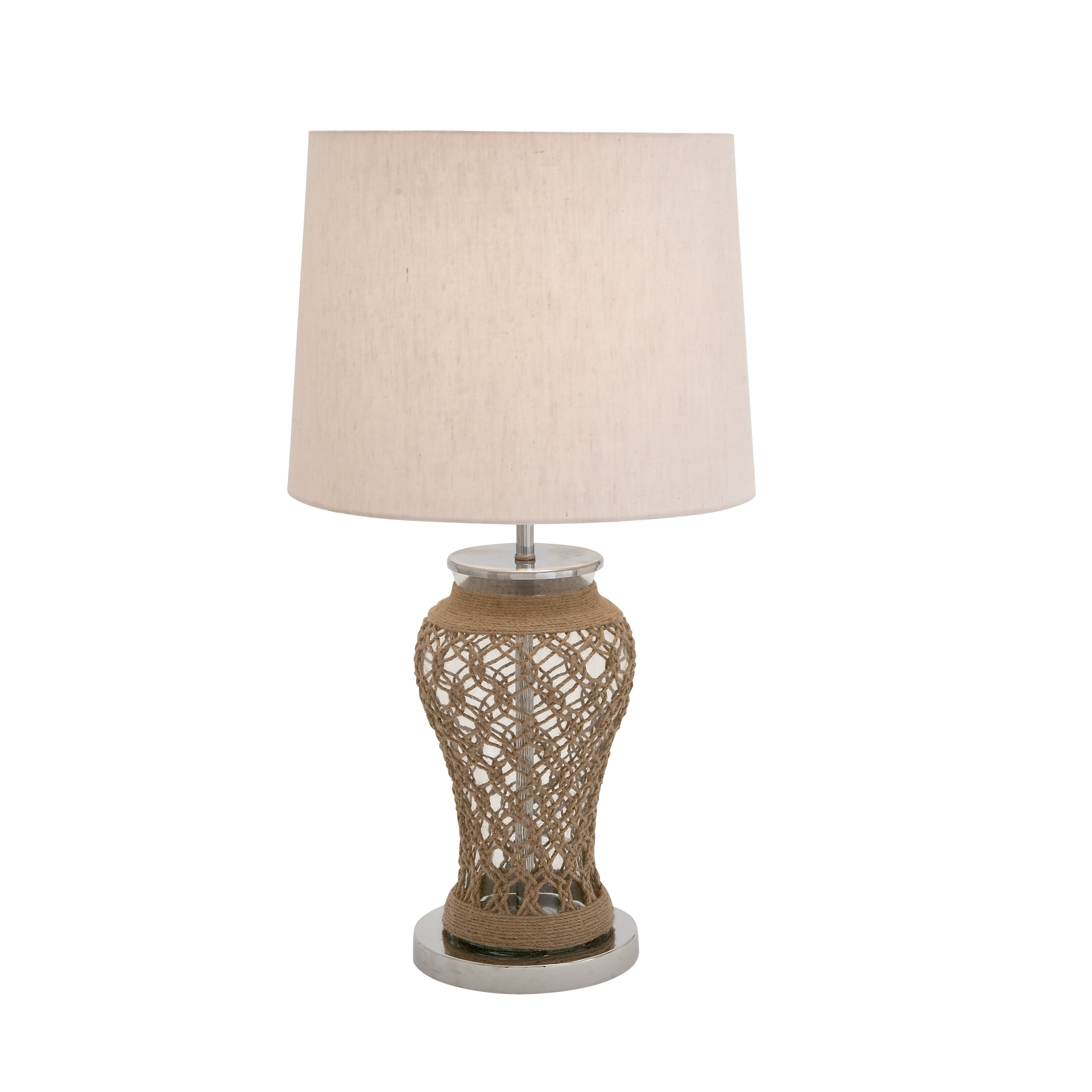 classy stainless steel glass jute 28 h table lamp with. Black Bedroom Furniture Sets. Home Design Ideas