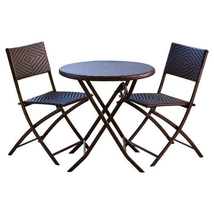 RST Brands Outdoor Wicker 3 Piece Bistro Set & Reviews