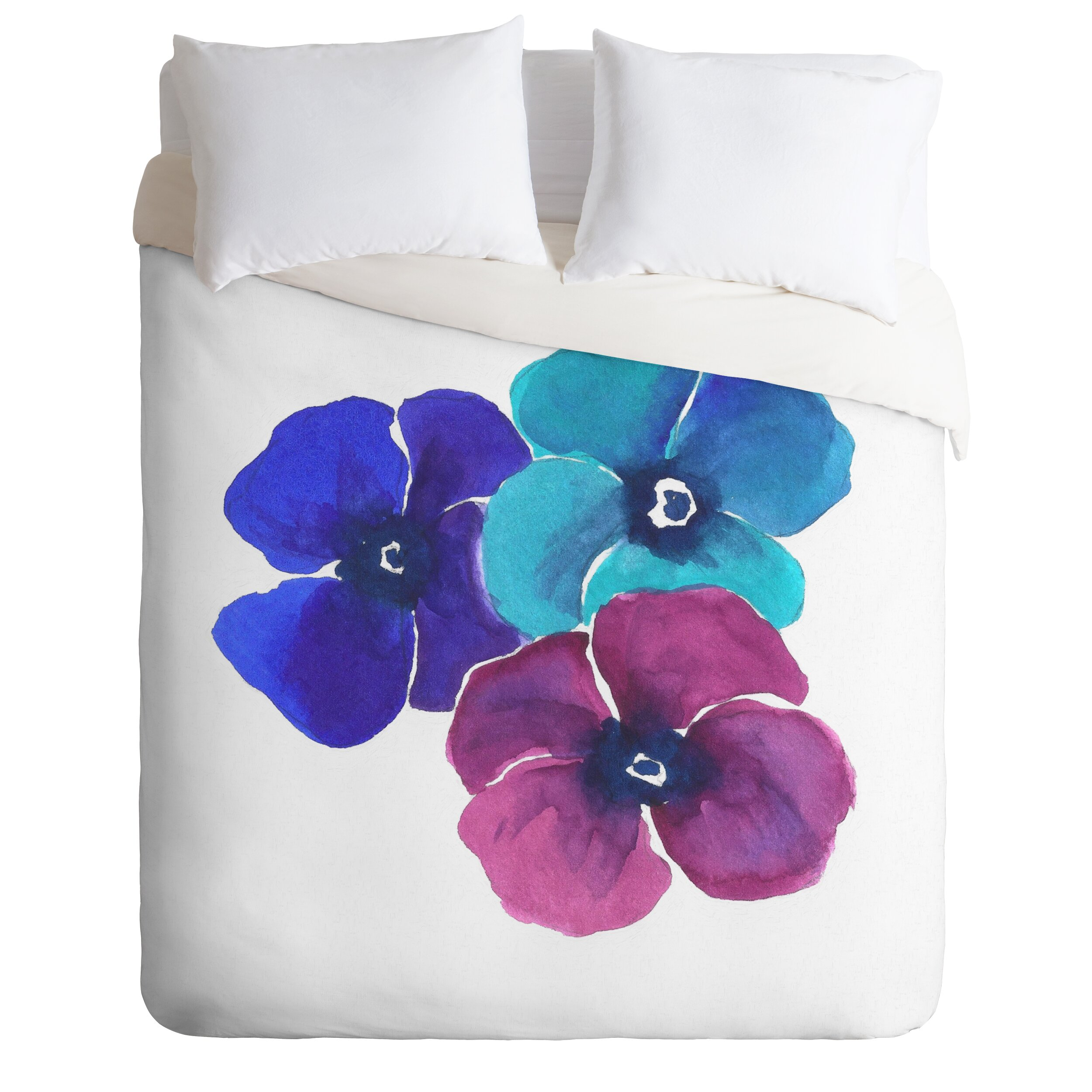 Jewel Tone Pansies Duvet Cover Collection by DENY Designs
