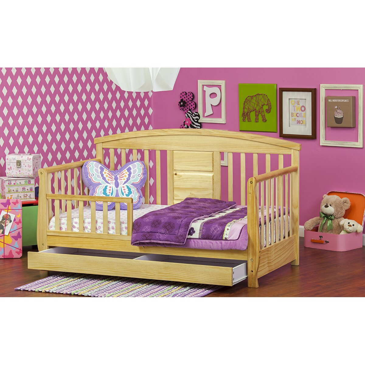 dream on me deluxe convertible toddler bed with storage reviews wayfair. Black Bedroom Furniture Sets. Home Design Ideas