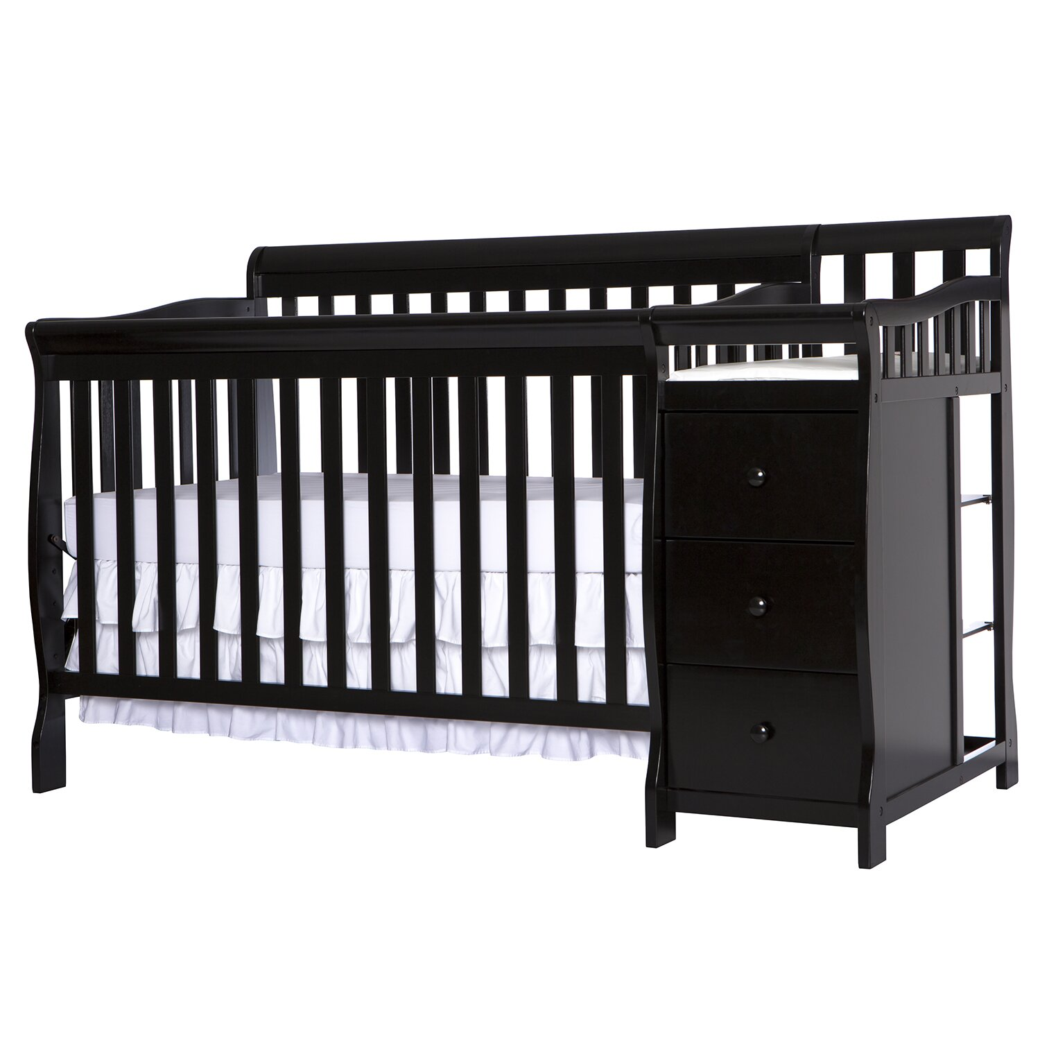 black baby cribs with changing table attached