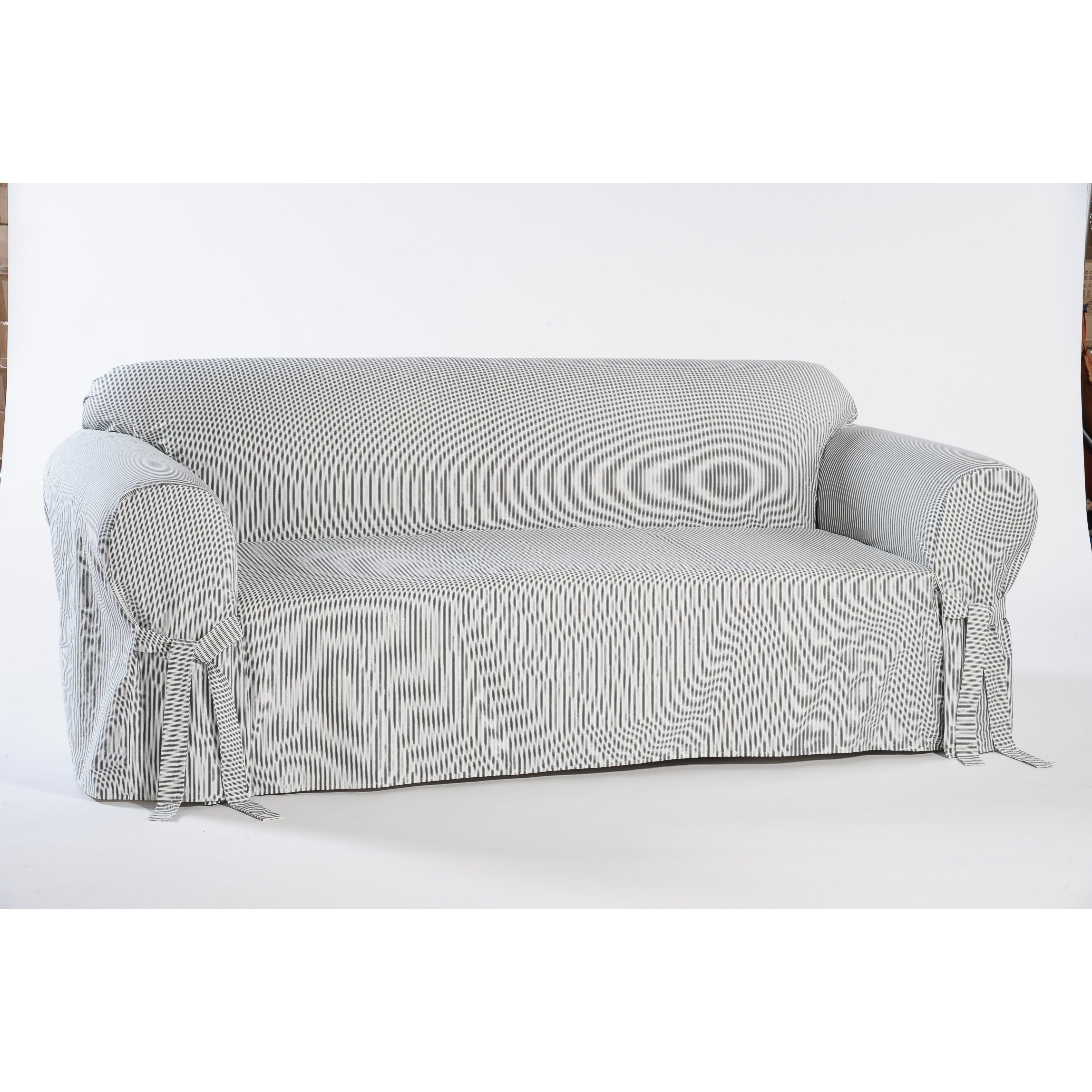 Sofa Slipcover: Stripe Twill Sofa Slipcover