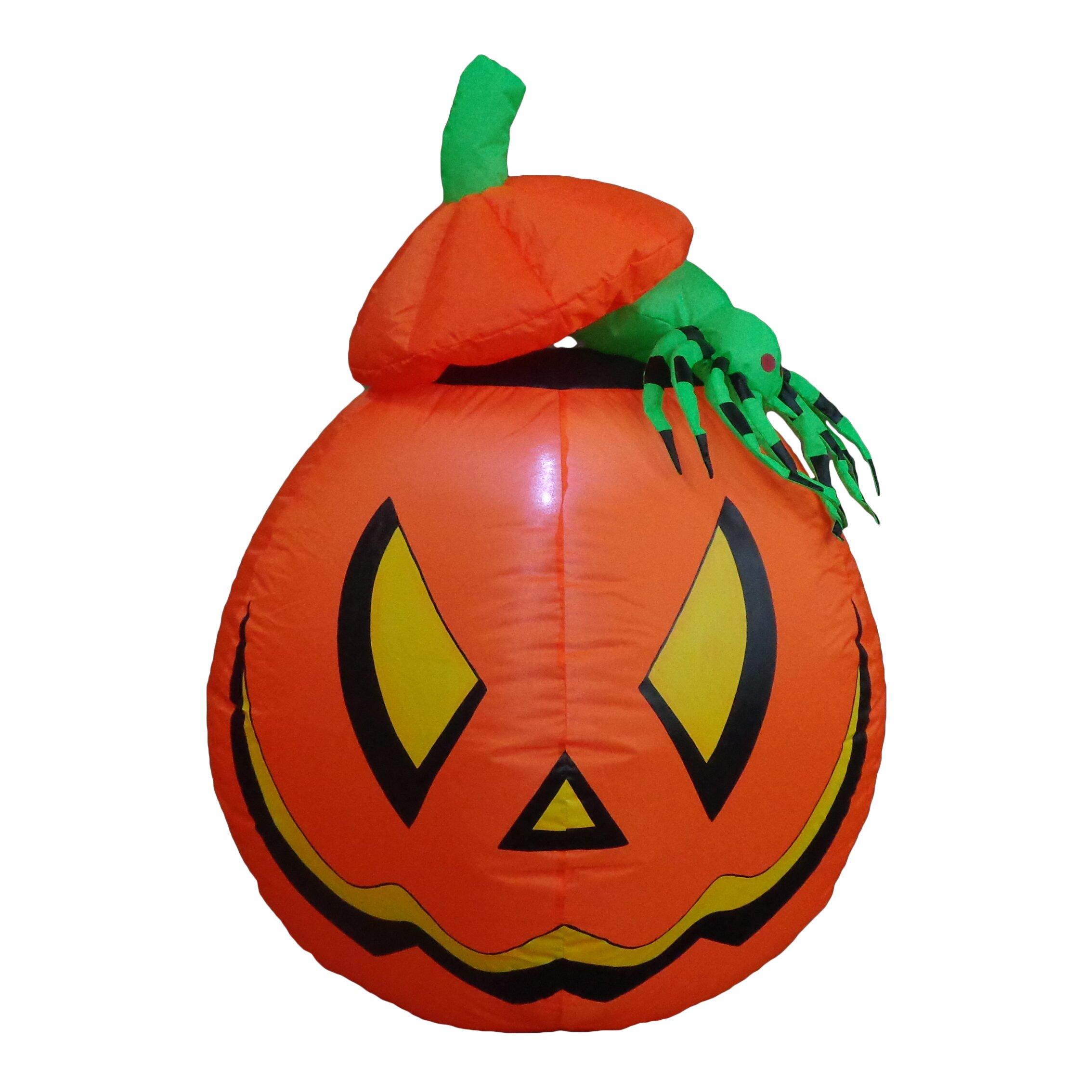 Lighted halloween inflatable pumpkin with spider indoor
