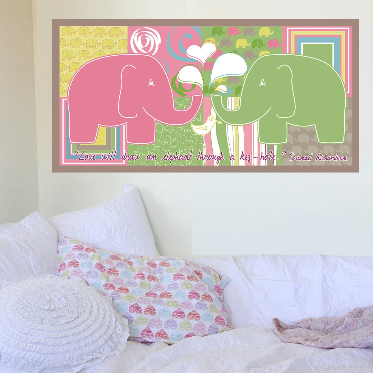 Elephant girl hanging wall mural wayfair for Elephant wall mural