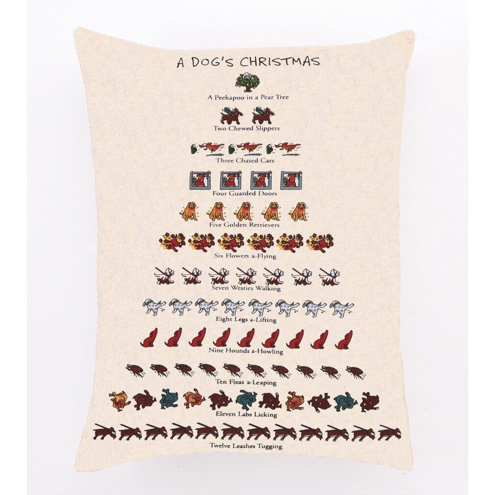 Needlepoint Dog S Christmas Cotton Throw Pillow Wayfair