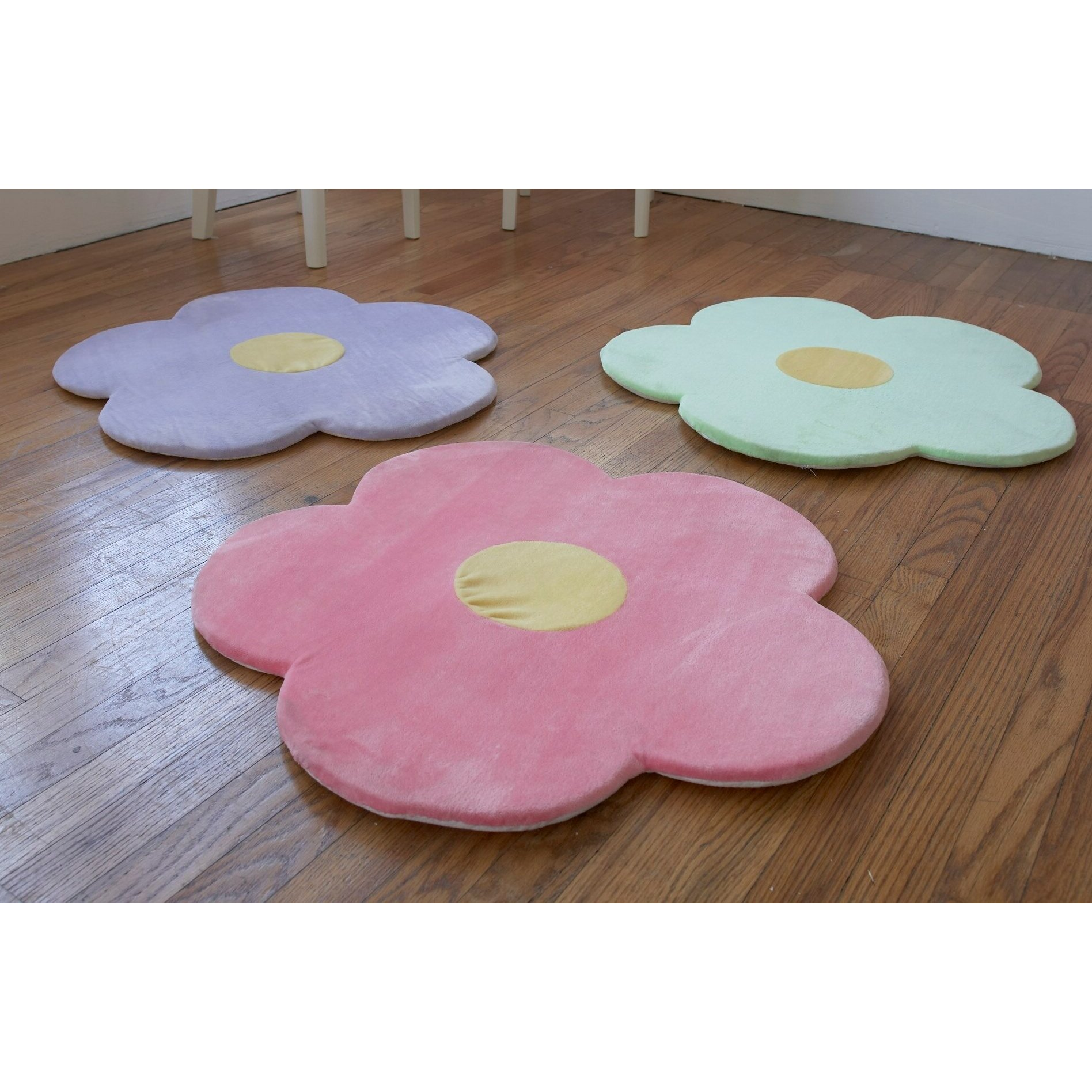 Heart To Heart 3 Piece Daisy Flower Kids Area Rug Set
