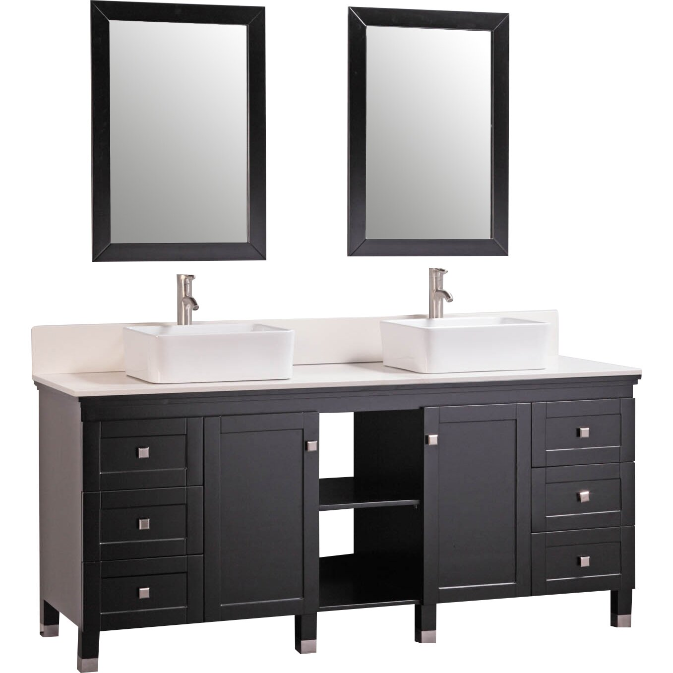 72 Double Solid Wood Bathroom Vanity Set With Mirrors Wayfair