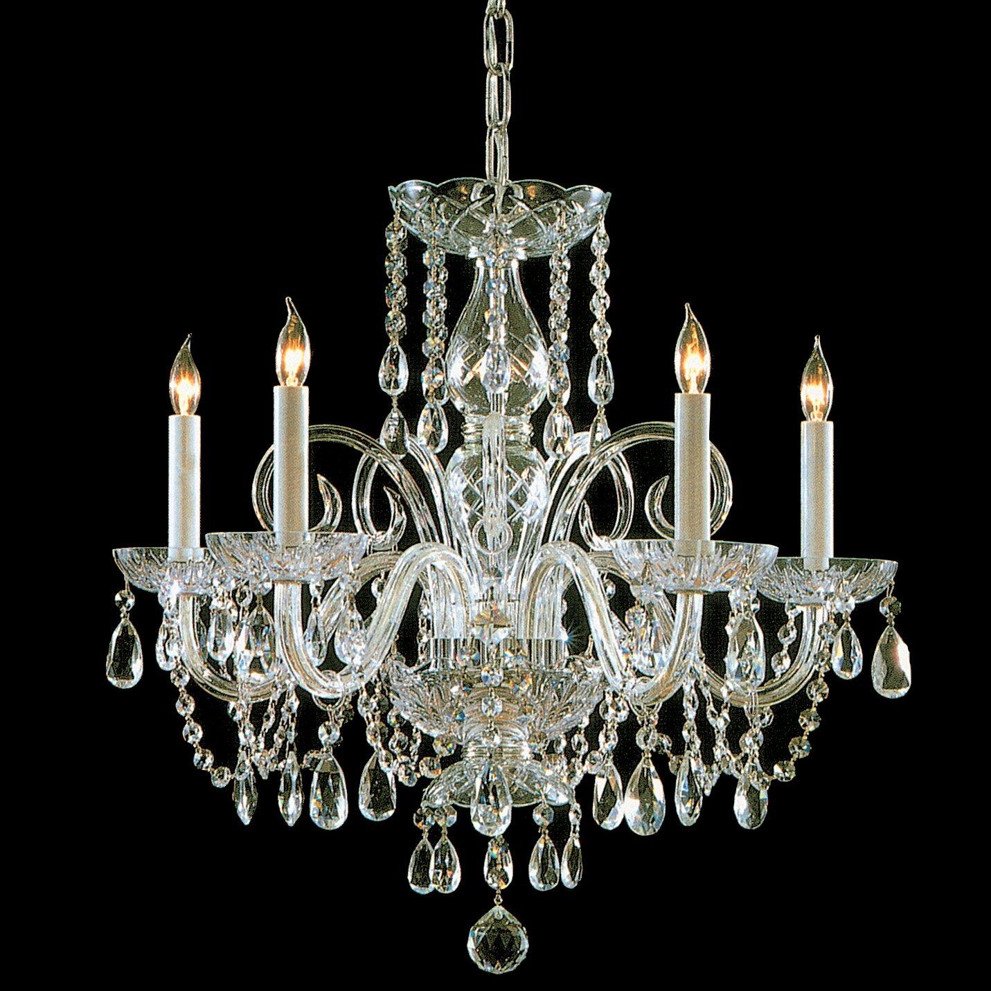 Crystal Chandelier Vs Glass: Crystorama Traditional Crystal 5 Light Glass Chandelier