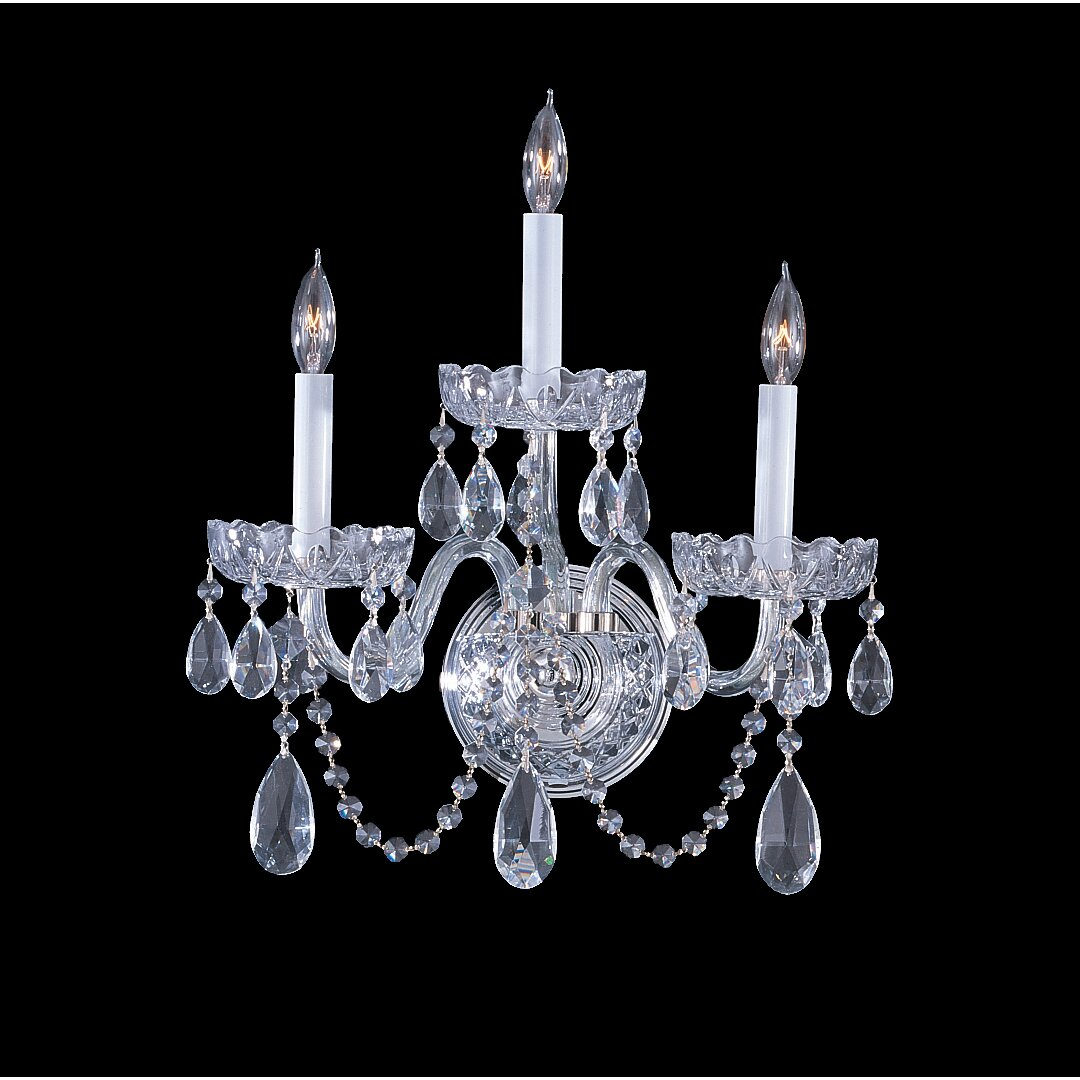 Traditional Crystal Wall Lights : Traditional Crystal 3 Light Wall Sconce Wayfair