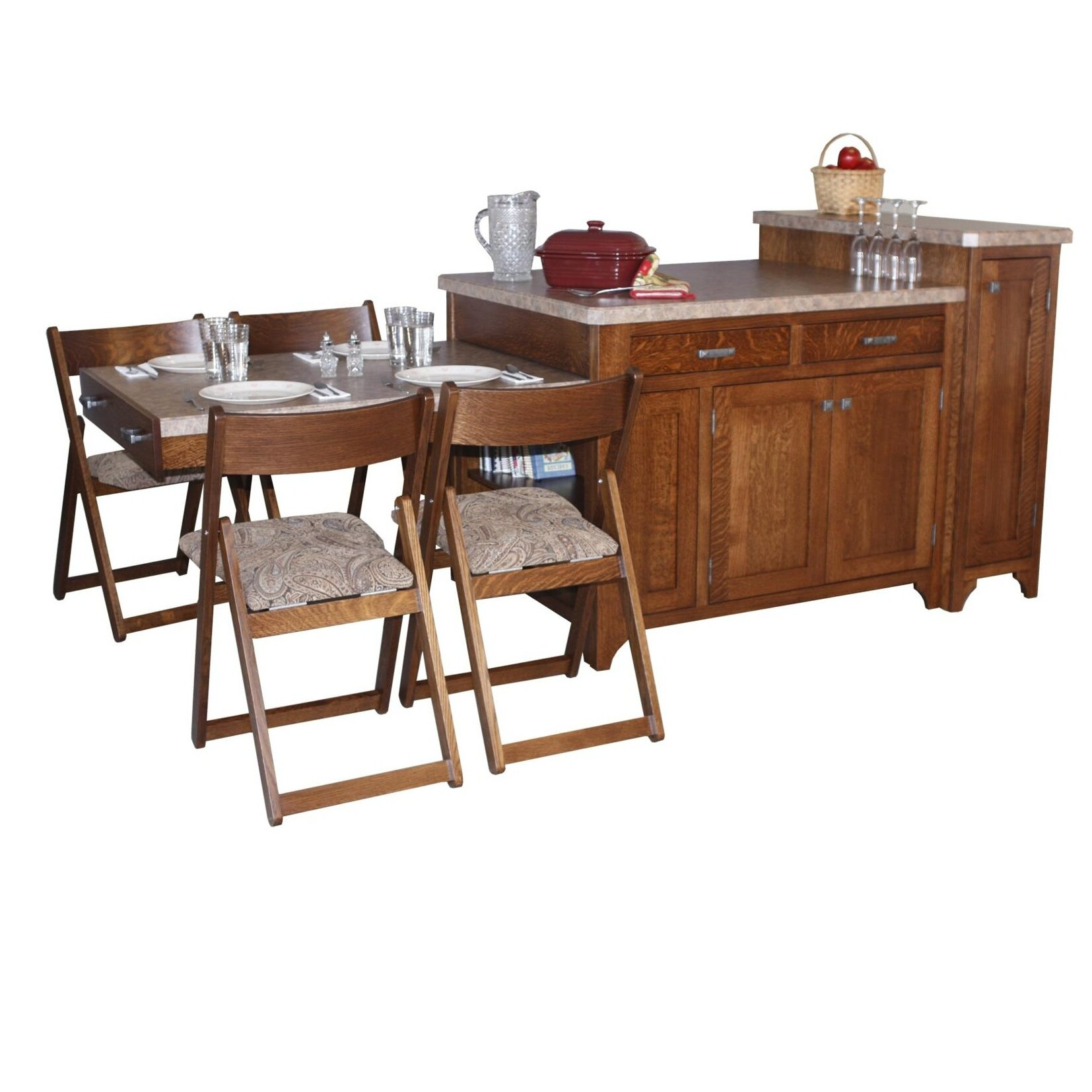 Kitchen island set with granite top wayfair for Jual granit kitchen set
