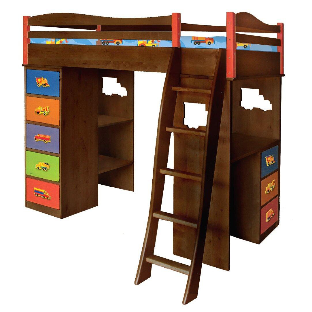 boys like trucks twin loft bed storage wayfair. Black Bedroom Furniture Sets. Home Design Ideas