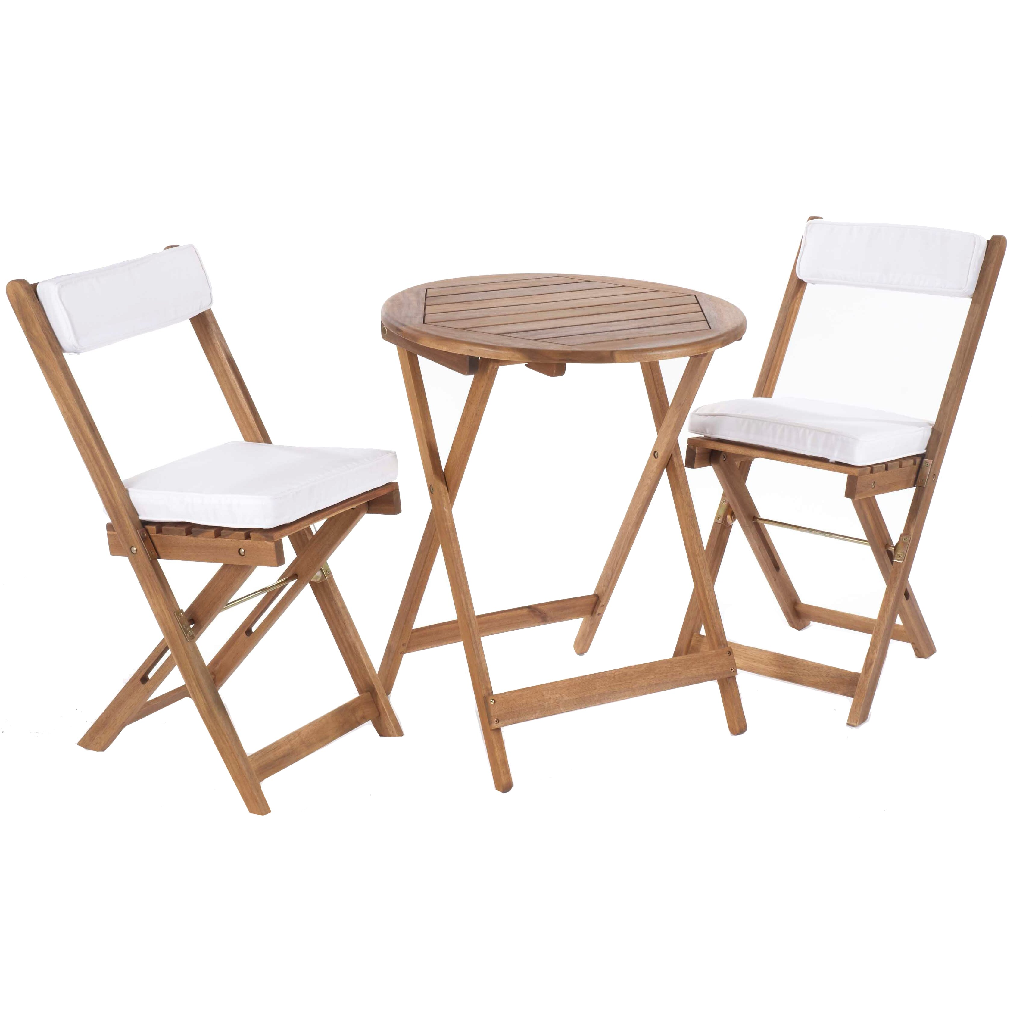 garden bistro set wooden folding chairs cushions table