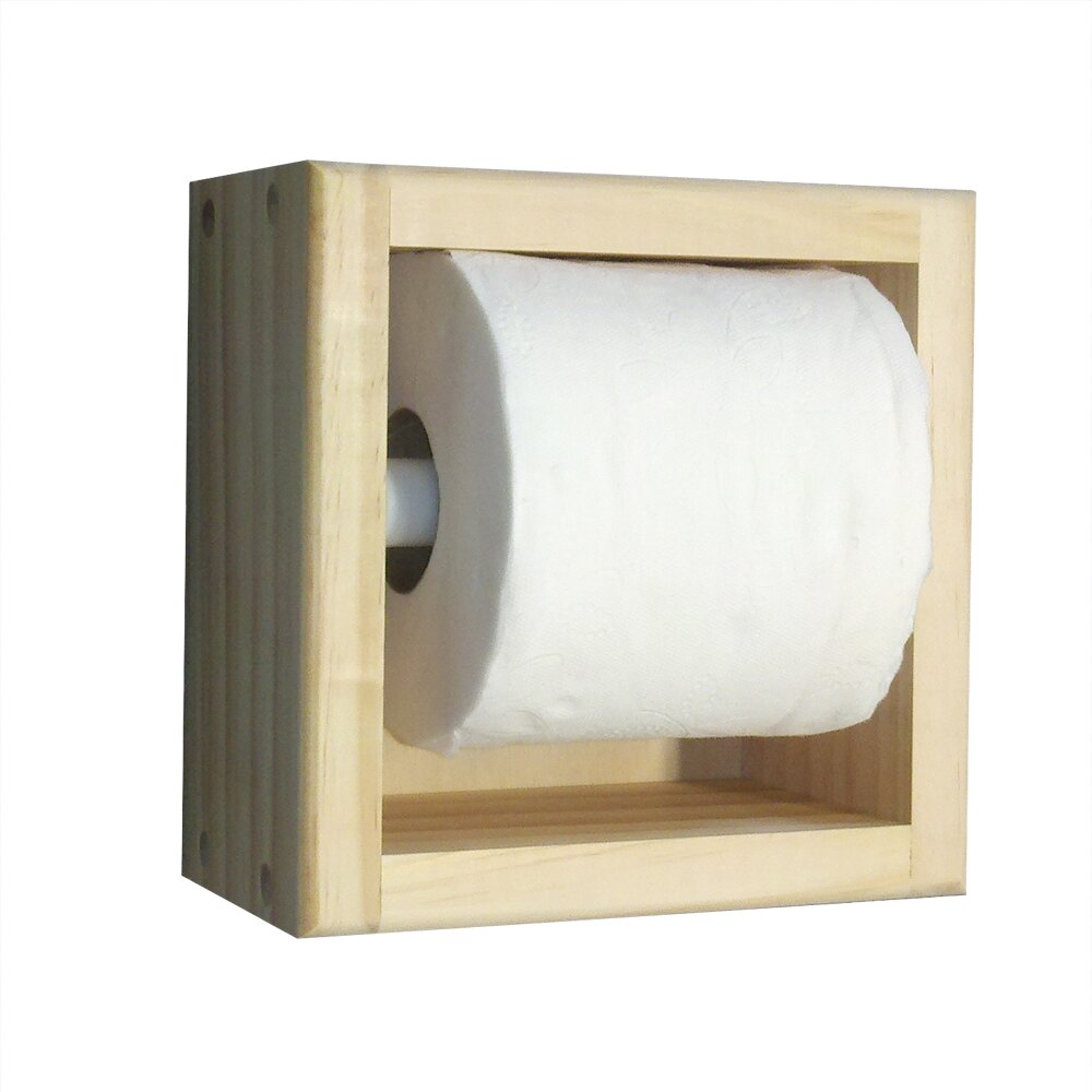 On the wall recessed toilet paper holder wayfair Wood toilet paper holders