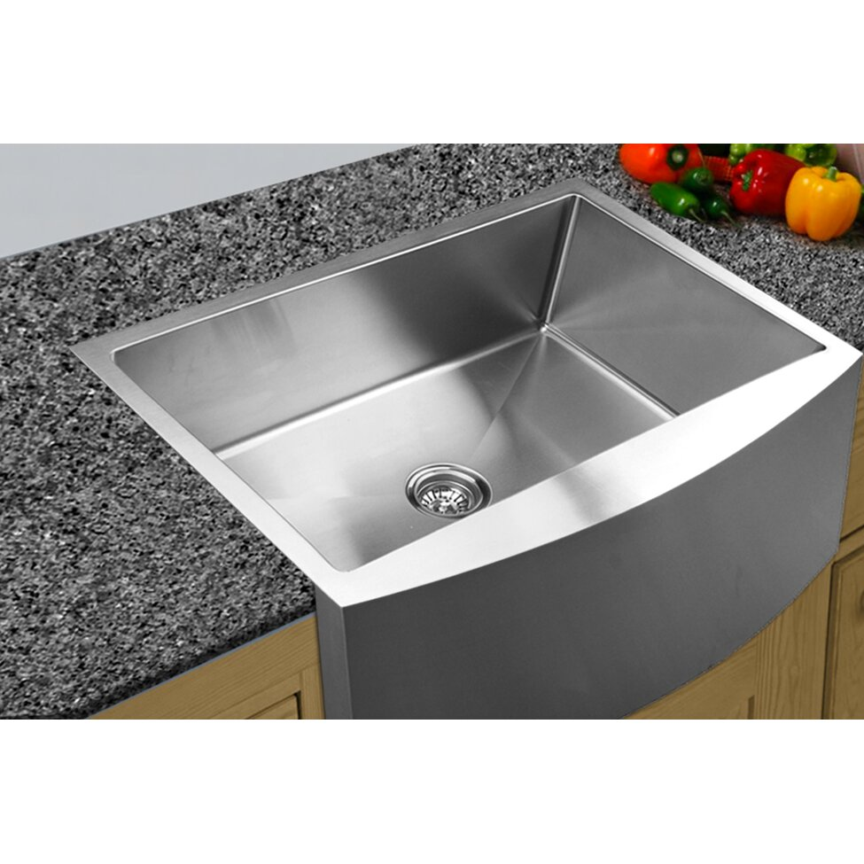 Ukinox 33 x curved apron front single bowl undermount kitchen sink reviews wayfair - Kitchen sinks apron front ...