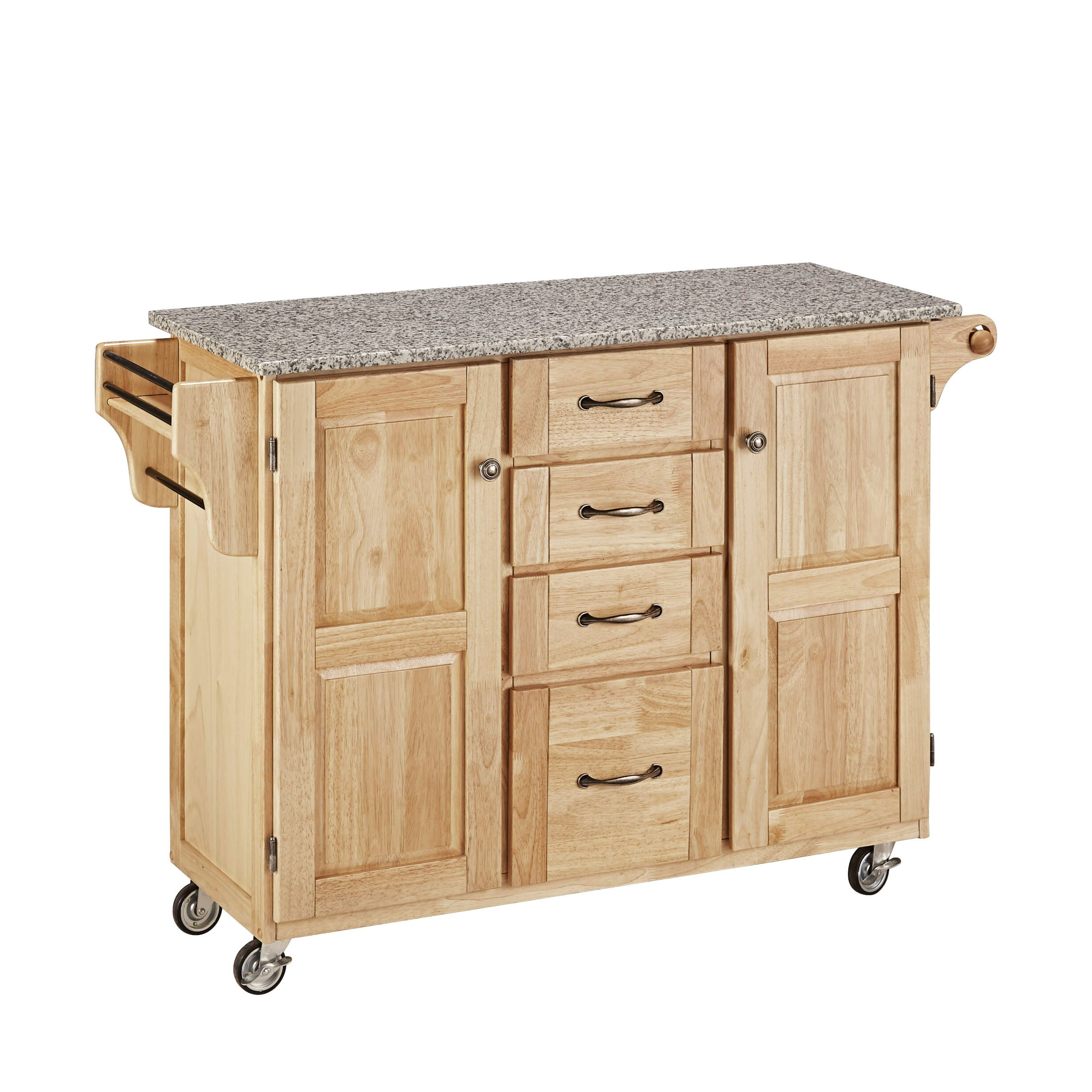 Home styles create a cart kitchen island with granite top for Homestyles kitchen island