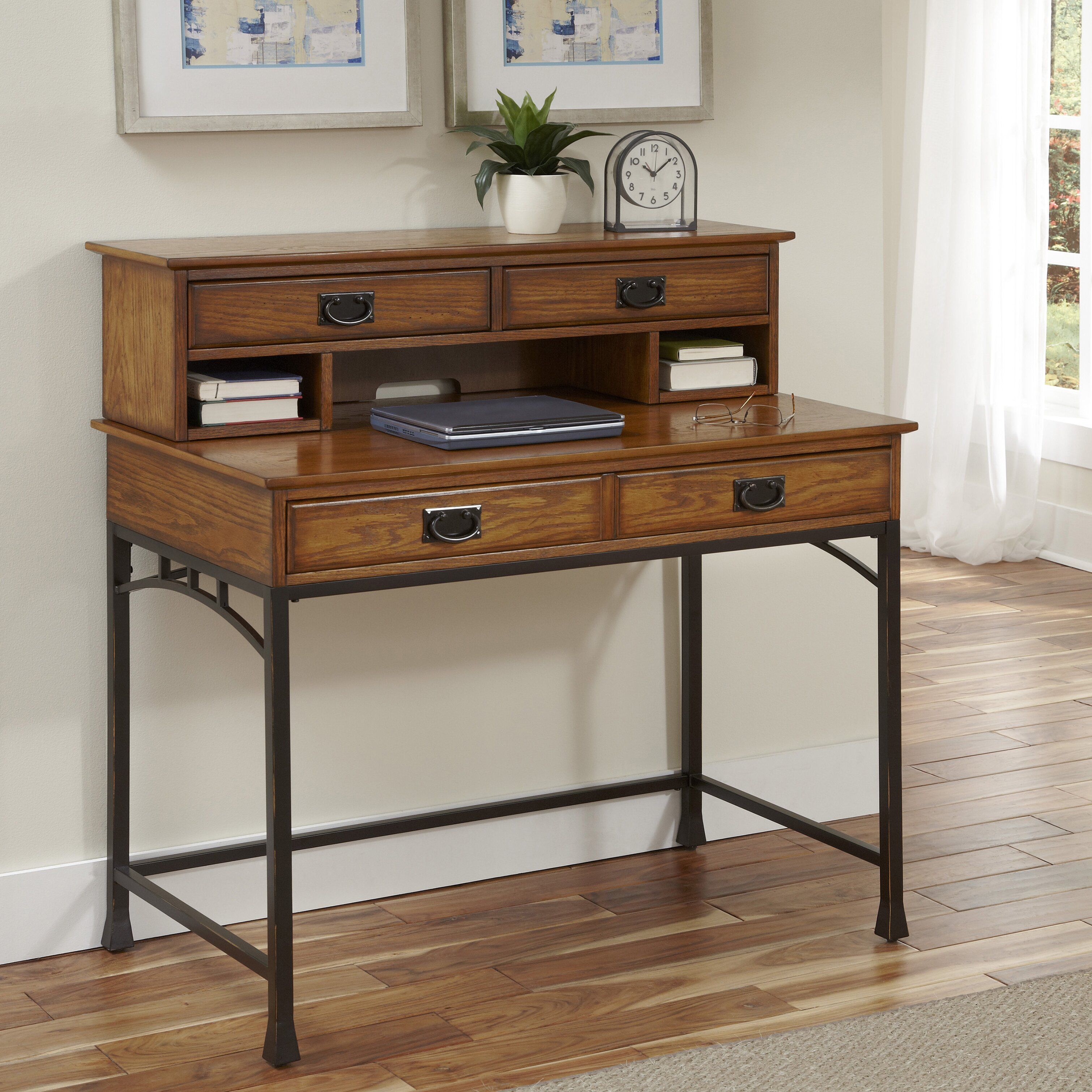 Home styles modern craftsman computer desk with hutch and keyboard tray reviews wayfair supply - Hutch style computer desk ...