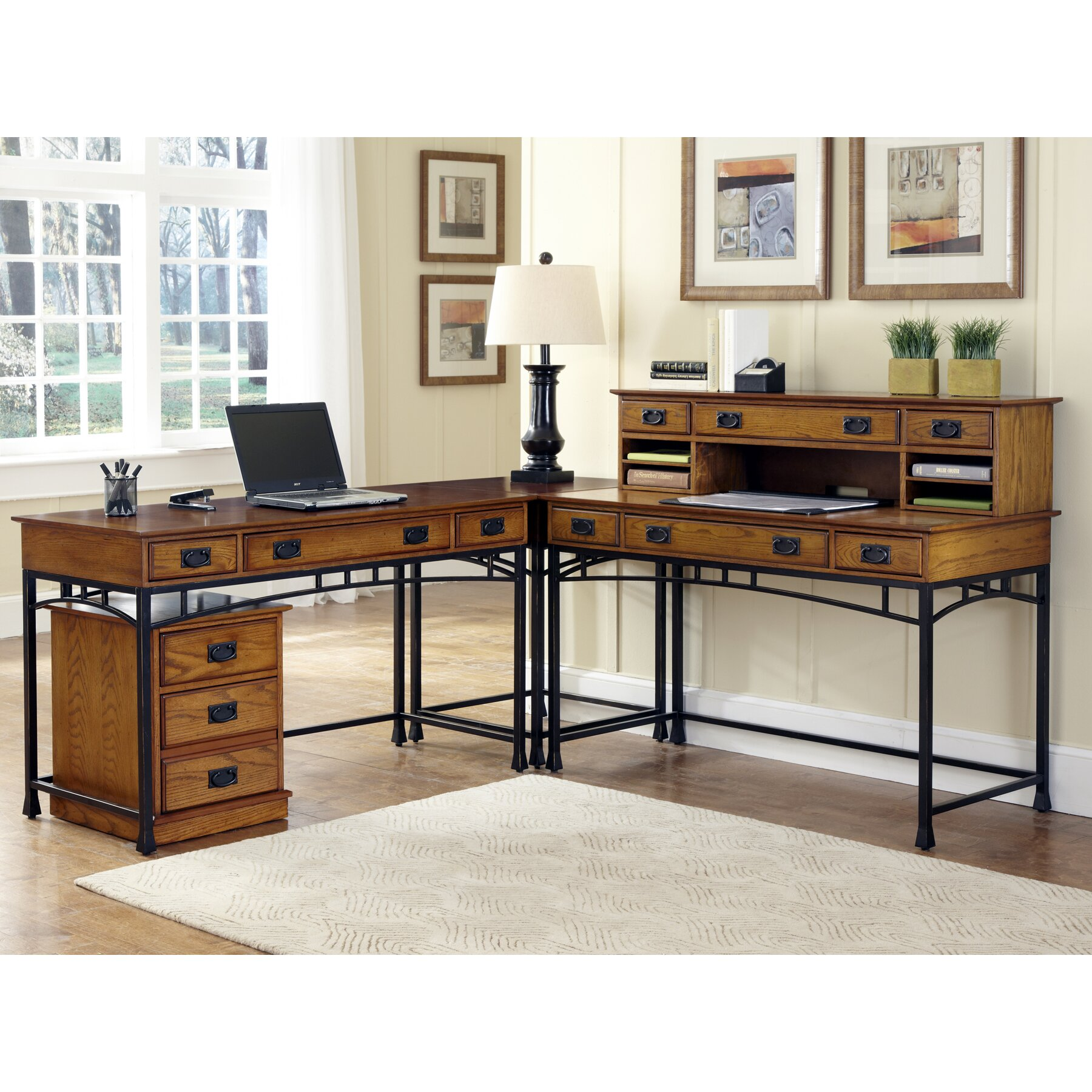 home styles modern craftsman computer desk with keyboard