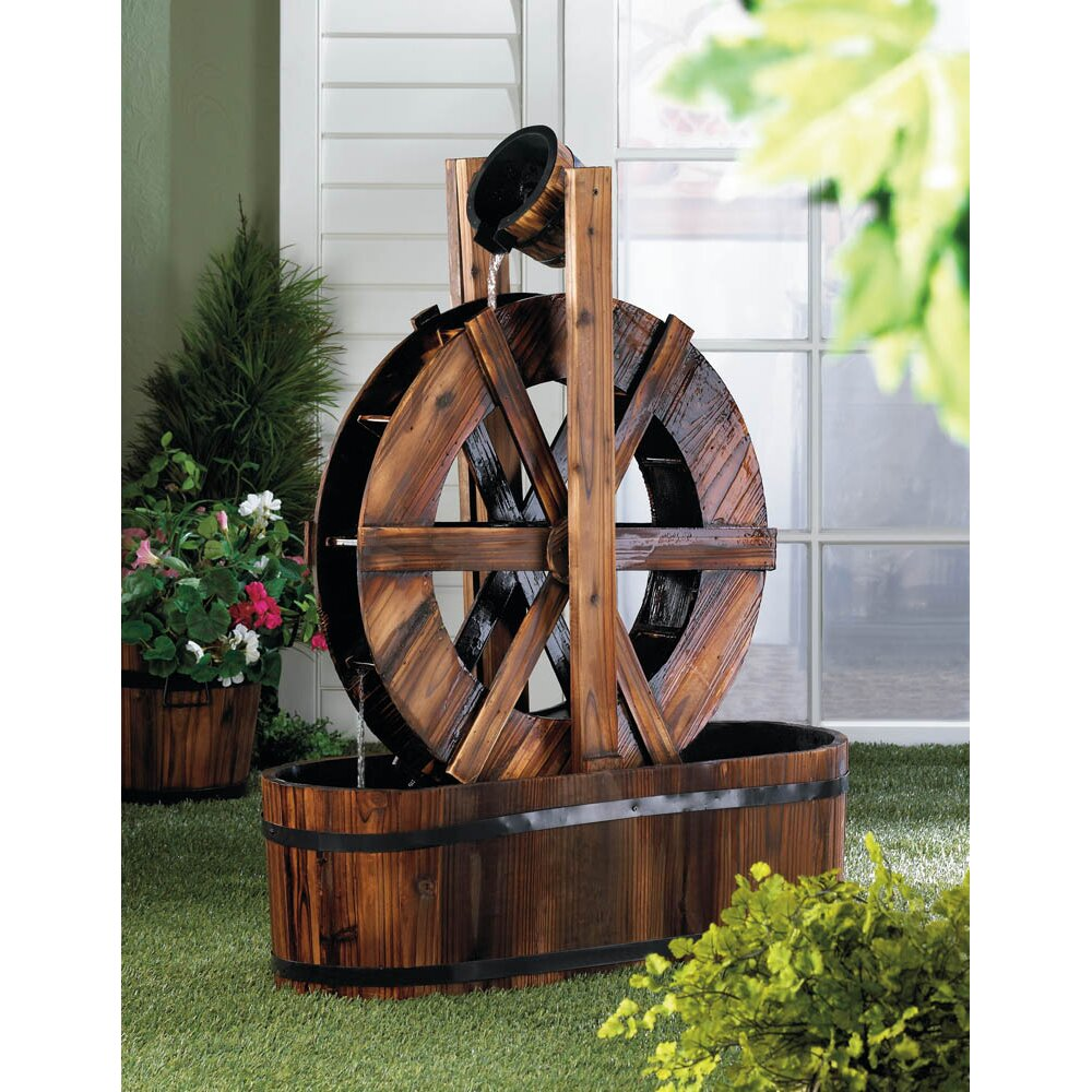 Zingz & Thingz Spinning Water Mill Fir Wood Fountain