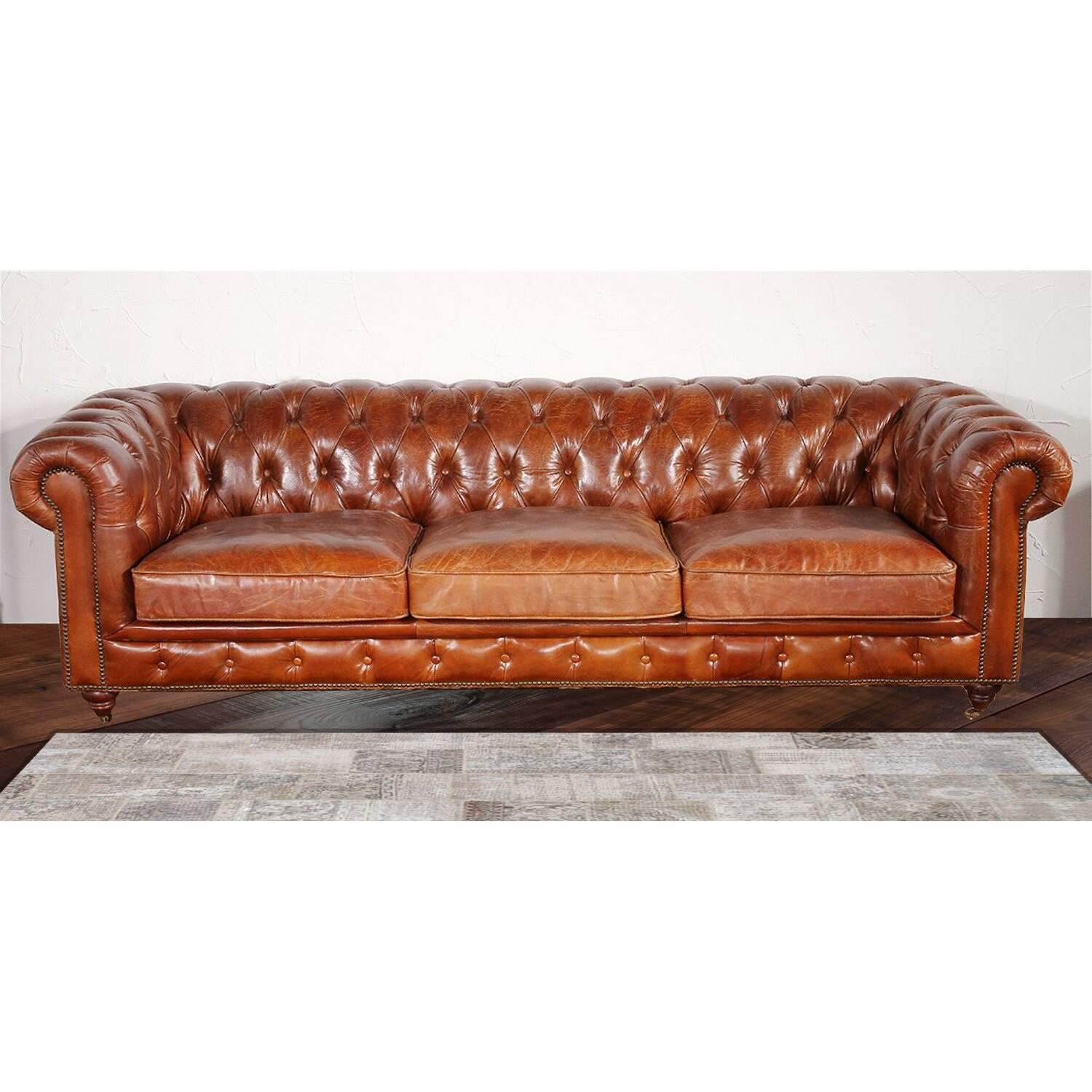 Tufted Leather Sofa Bed: Pasargad Chester Bay Tufted Genuine Leather Sofa & Reviews