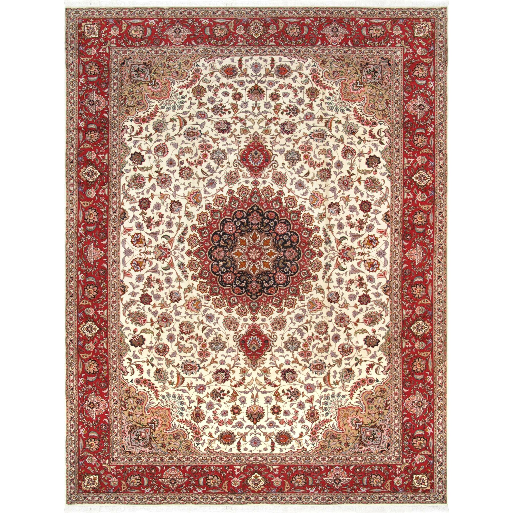 Hand Knotted Persian Tabriz Wool Area Rug Ebth: Pasargad Tabriz Collection Hand-Knotted Silk & Wool Area