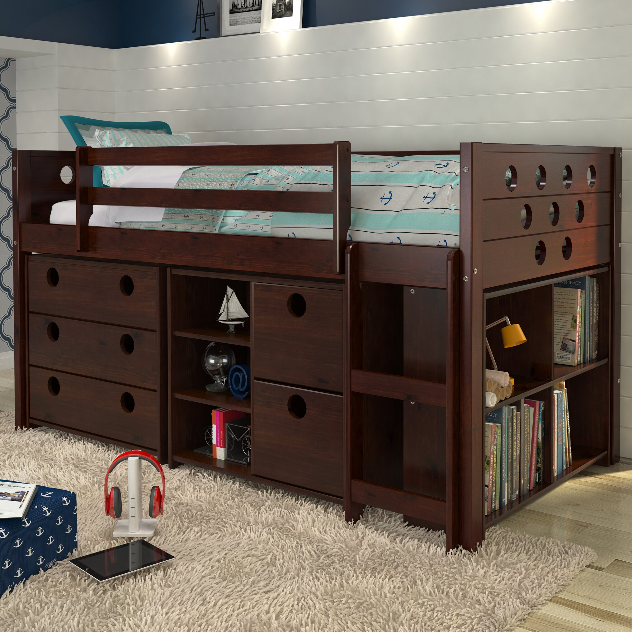 donco kids circles twin loft bed with storage reviews wayfair. Black Bedroom Furniture Sets. Home Design Ideas