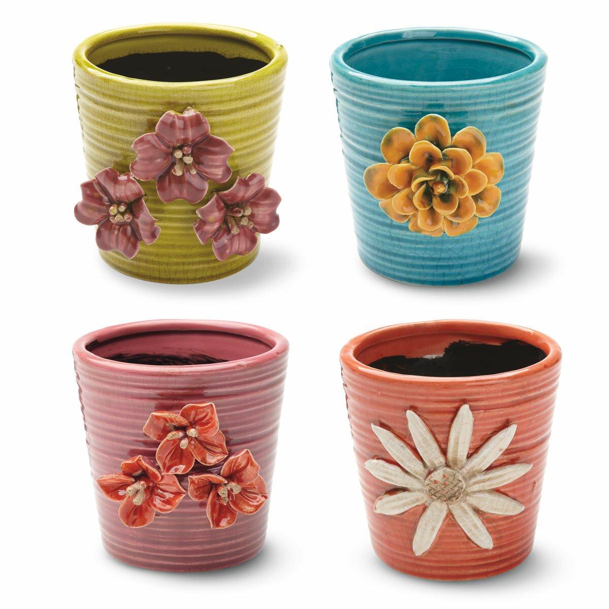 Foreside home garden boho round pot planter reviews for Flower pots design images