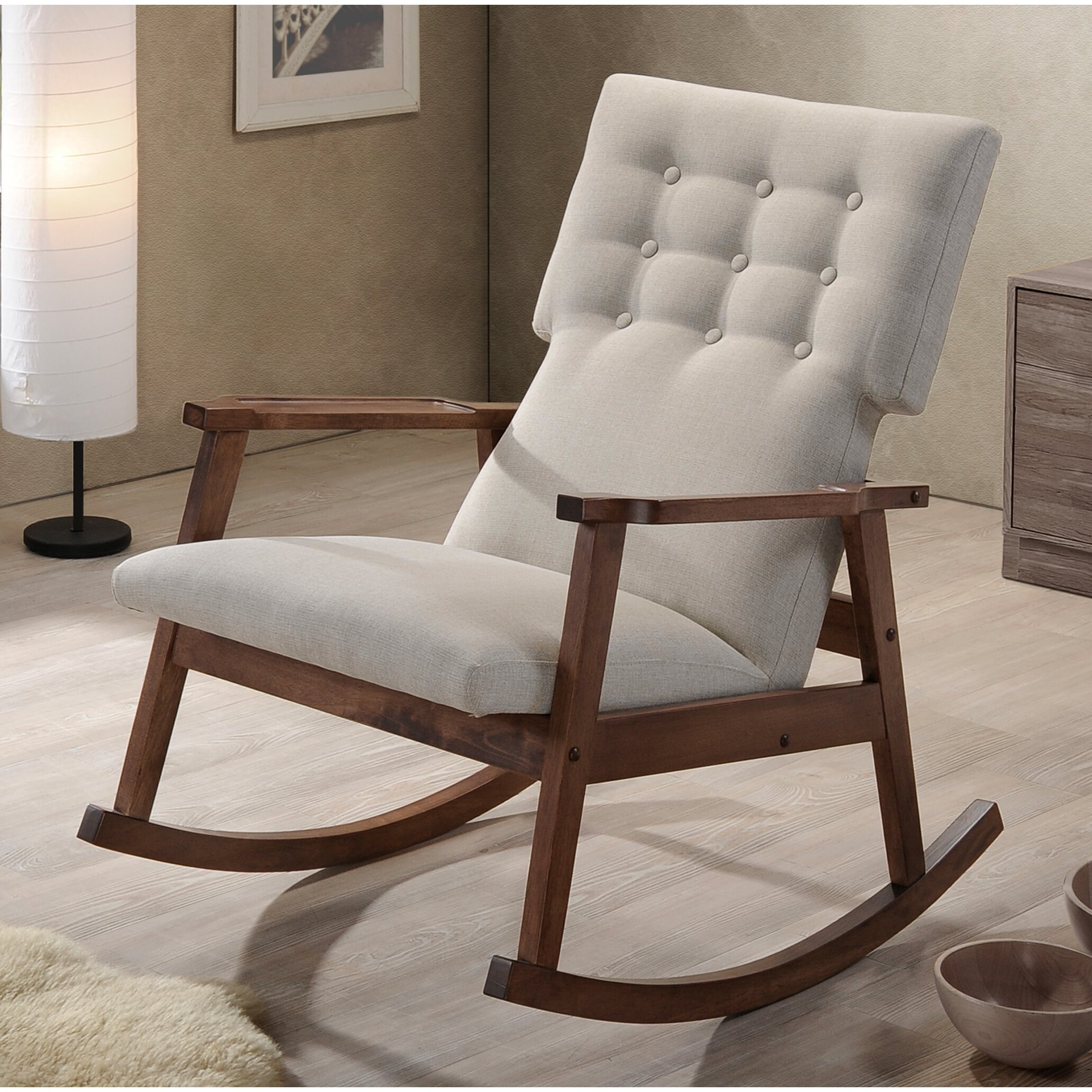 wholesale interiors baxton studio rocking chair reviews wayfair. Black Bedroom Furniture Sets. Home Design Ideas