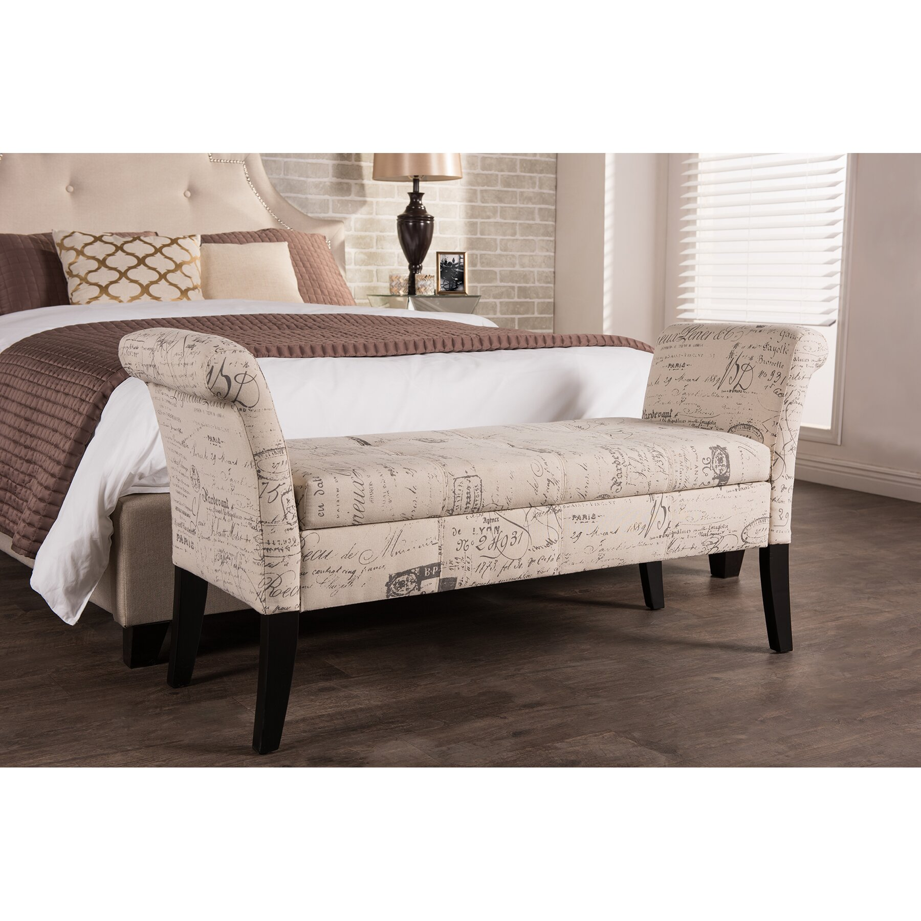 wholesale interiors baxton studio upholstered storage 14173 | baxton studio baxton studio avignon towers patterned french laundry fabric storage ottoman bench