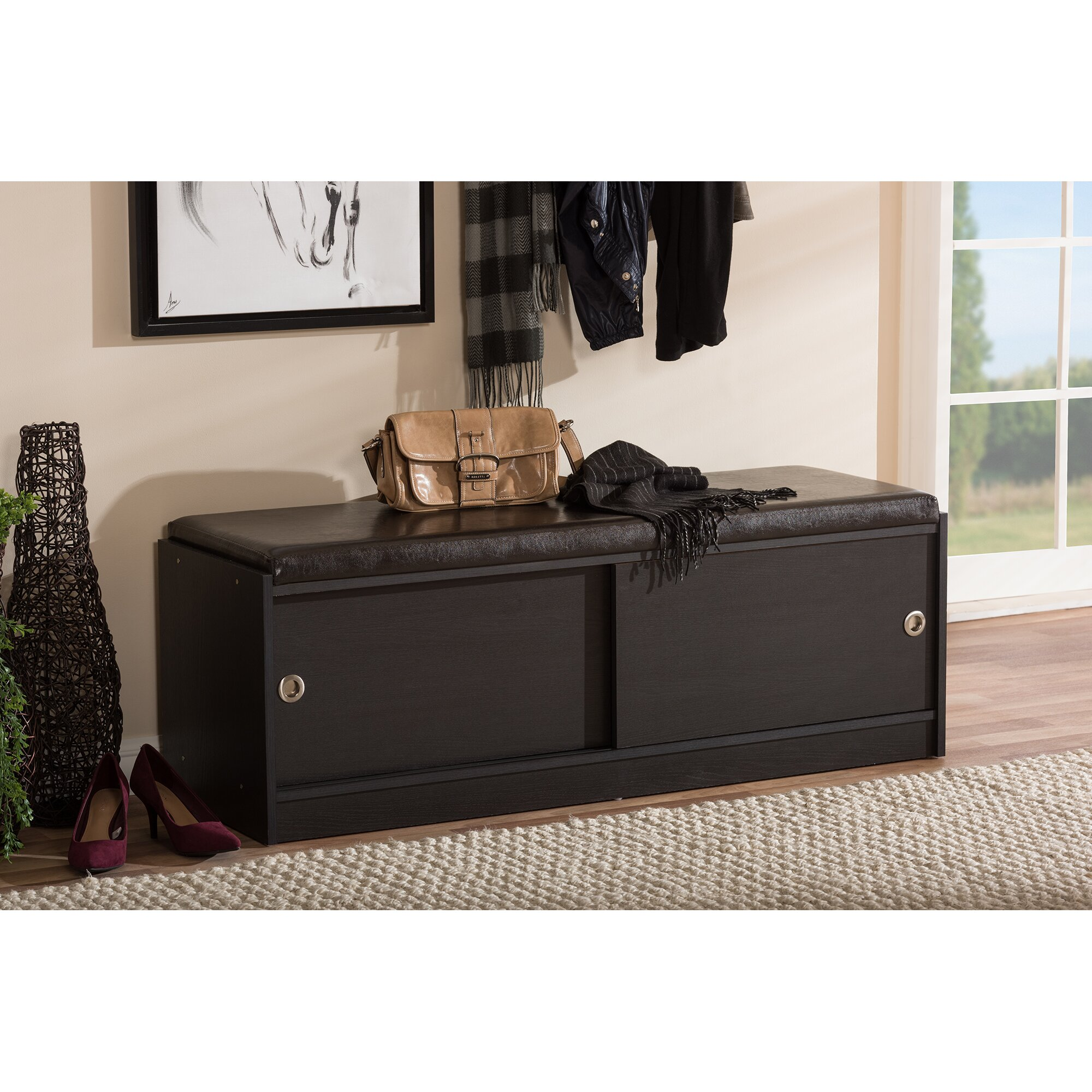 Wholesale interiors clevedon wood storage entryway bench reviews wayfair Shoe cabinet bench