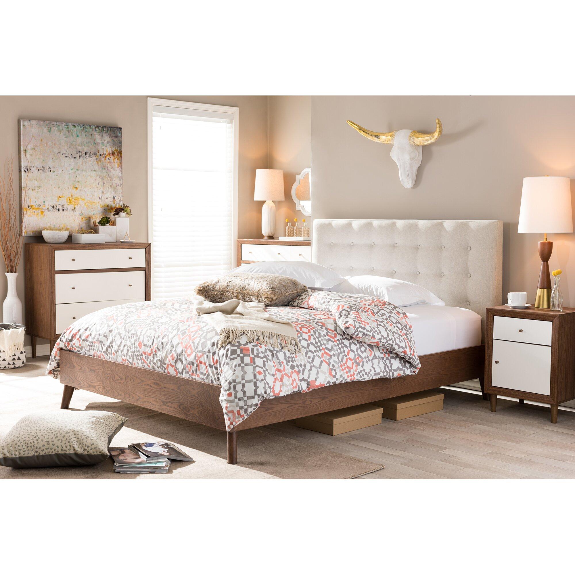 Wholesale interiors baxton studio upholstered platform bed for Upholstered full bed