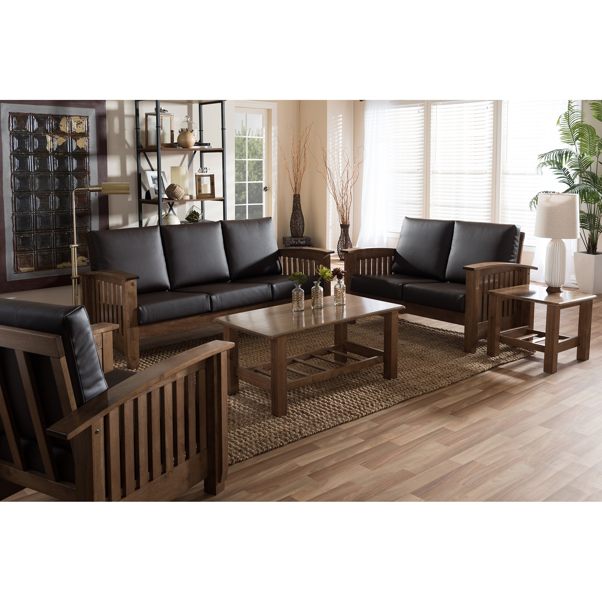 Baxton studio 5 piece living room set wayfair for Whole living room furniture sets