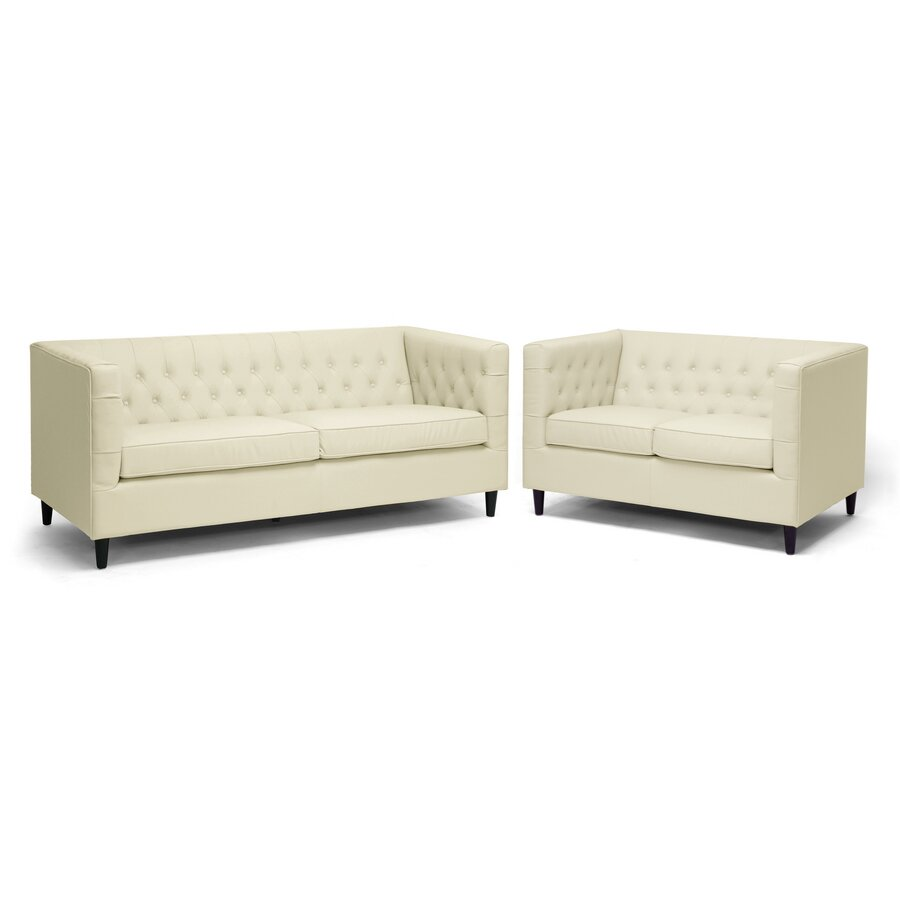 Baxton Studio Darrow Leather Sofa Set Wayfair