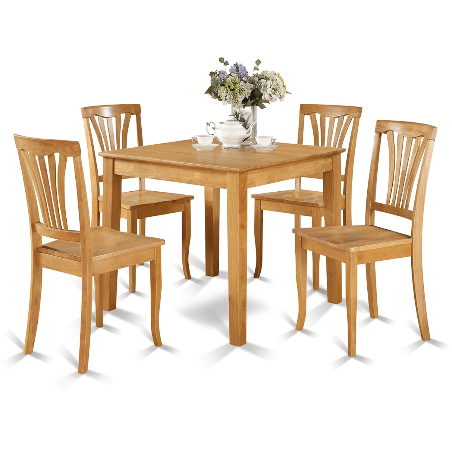 Wooden importers oxford 5 piece dining set reviews wayfair for Small kitchen table with 4 chairs