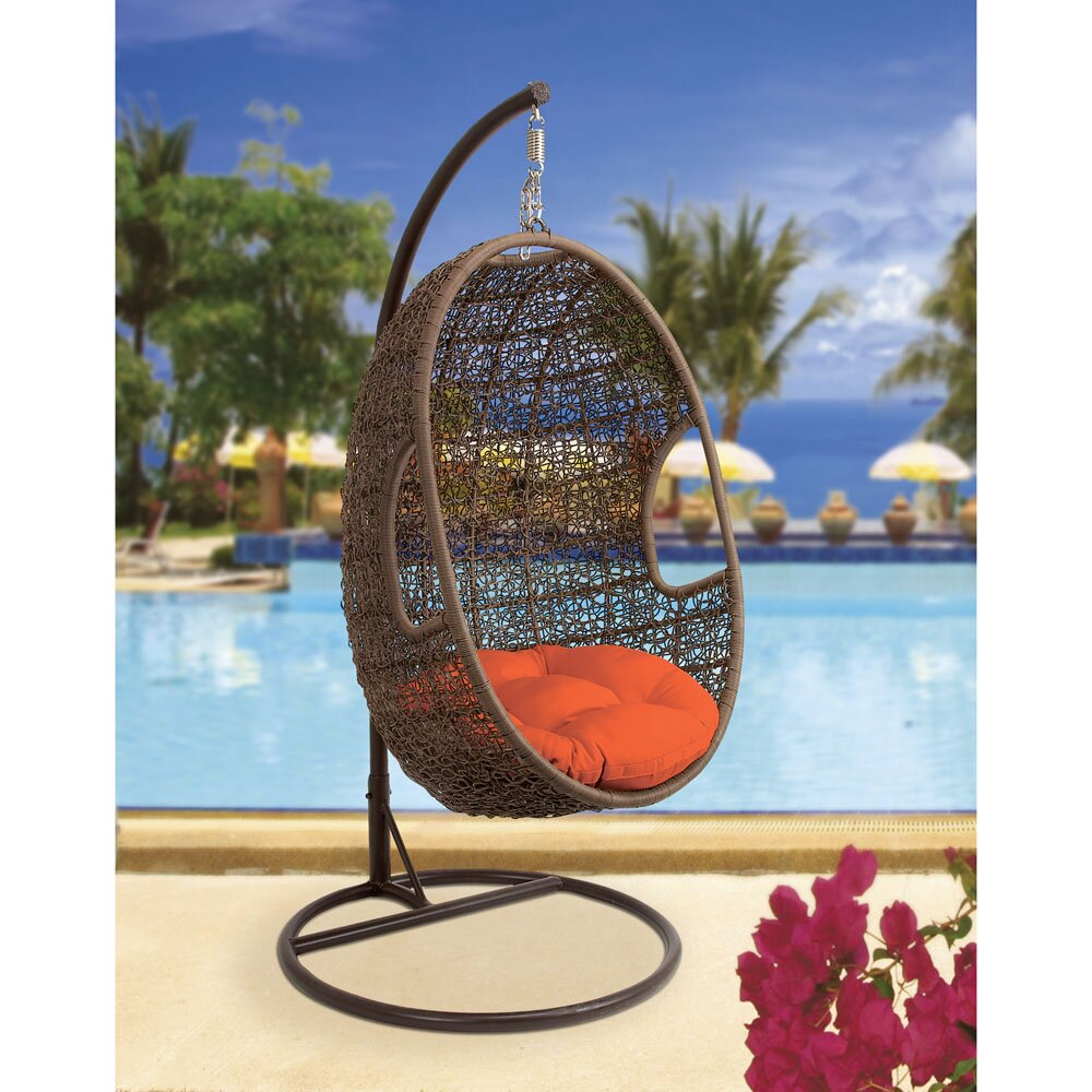 rattan pod swing chair with cushion wayfair. Black Bedroom Furniture Sets. Home Design Ideas