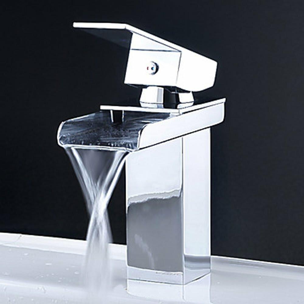 Kokols single handle single hole waterfall bathroom sink - Single hole waterfall bathroom faucet ...