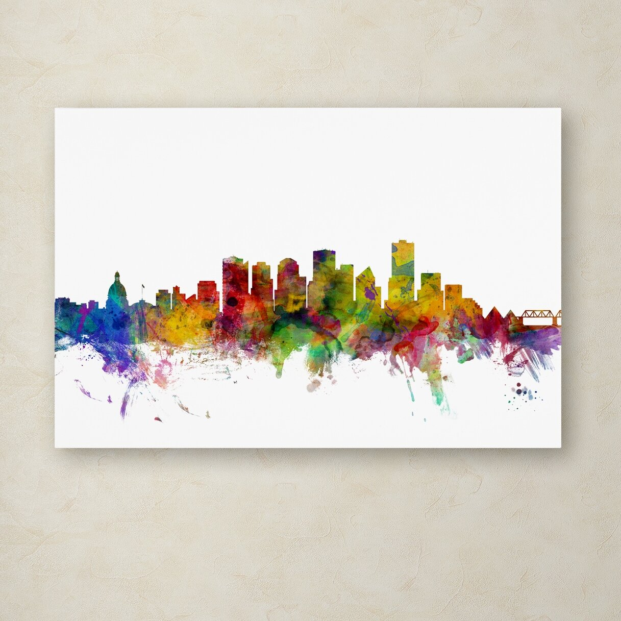 Trademark Fine Art Edmonton Canada Skyline By Michael Tompsett Graphic