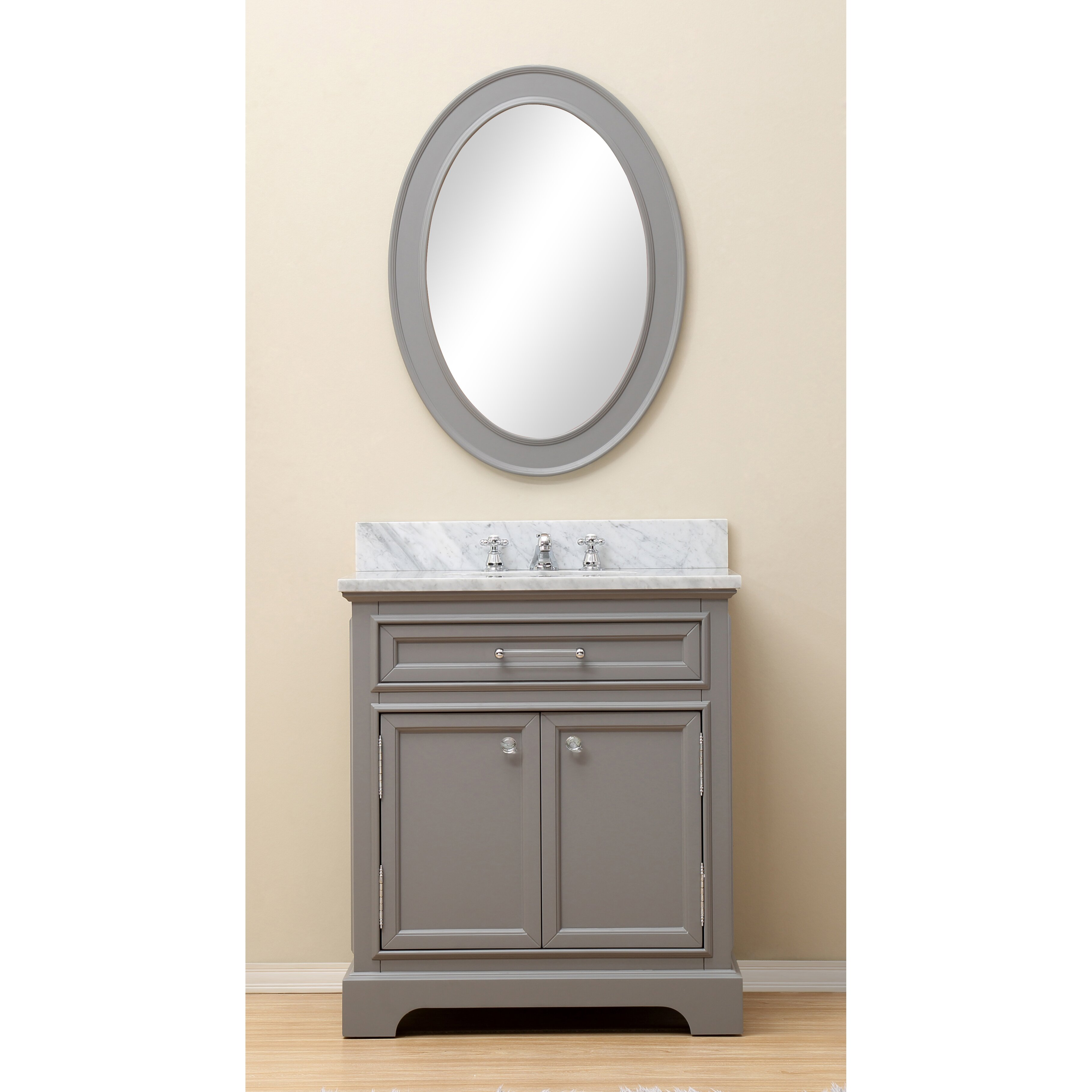 30 single sink bathroom vanity set with mirror and faucet grey by