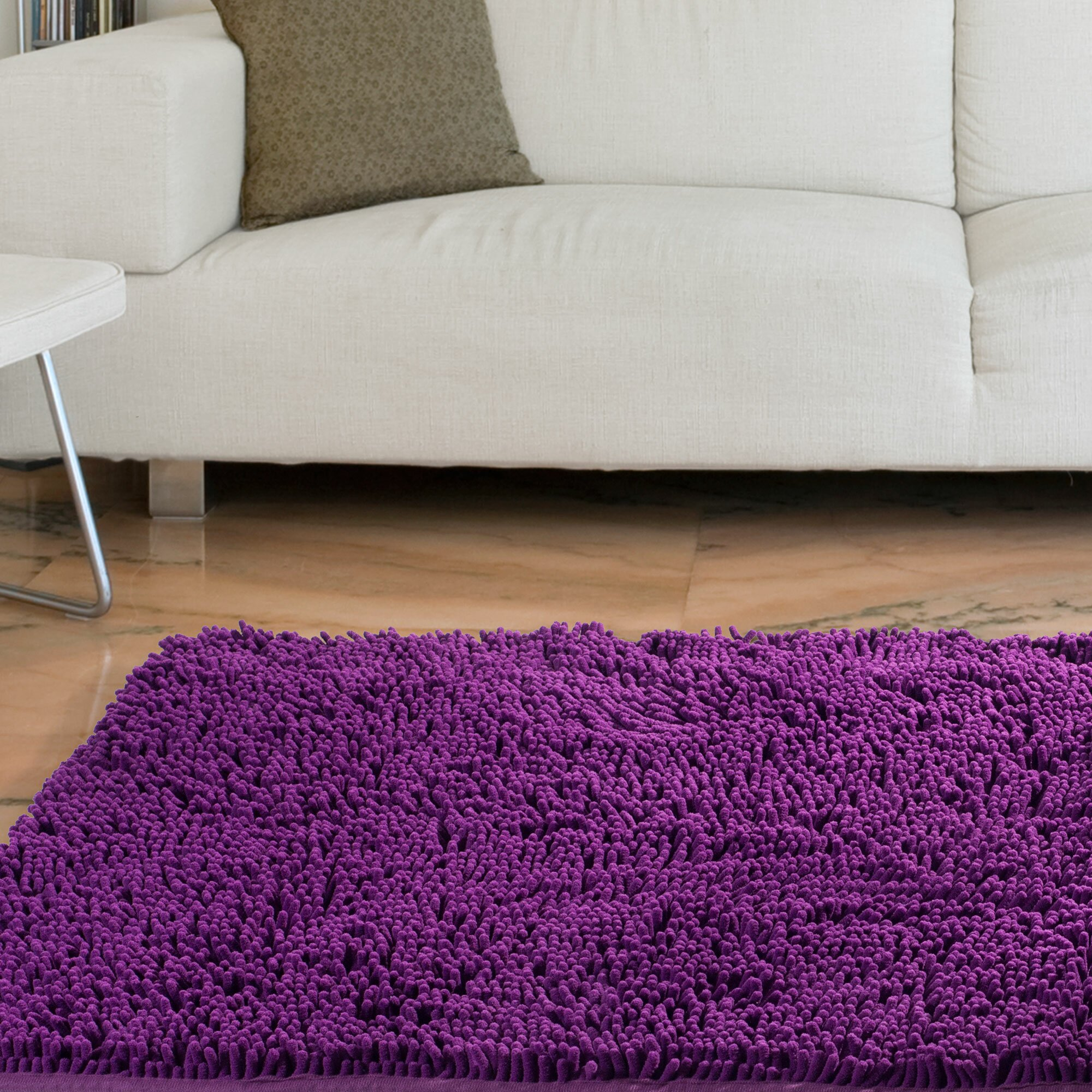 Purple Rug: Lavish Home High Pile Purple Solid Area Rug & Reviews