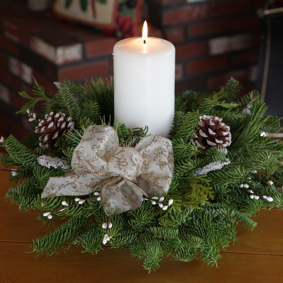 Worcester Wreath Winter Elegance Pillar Candle Centerpiece