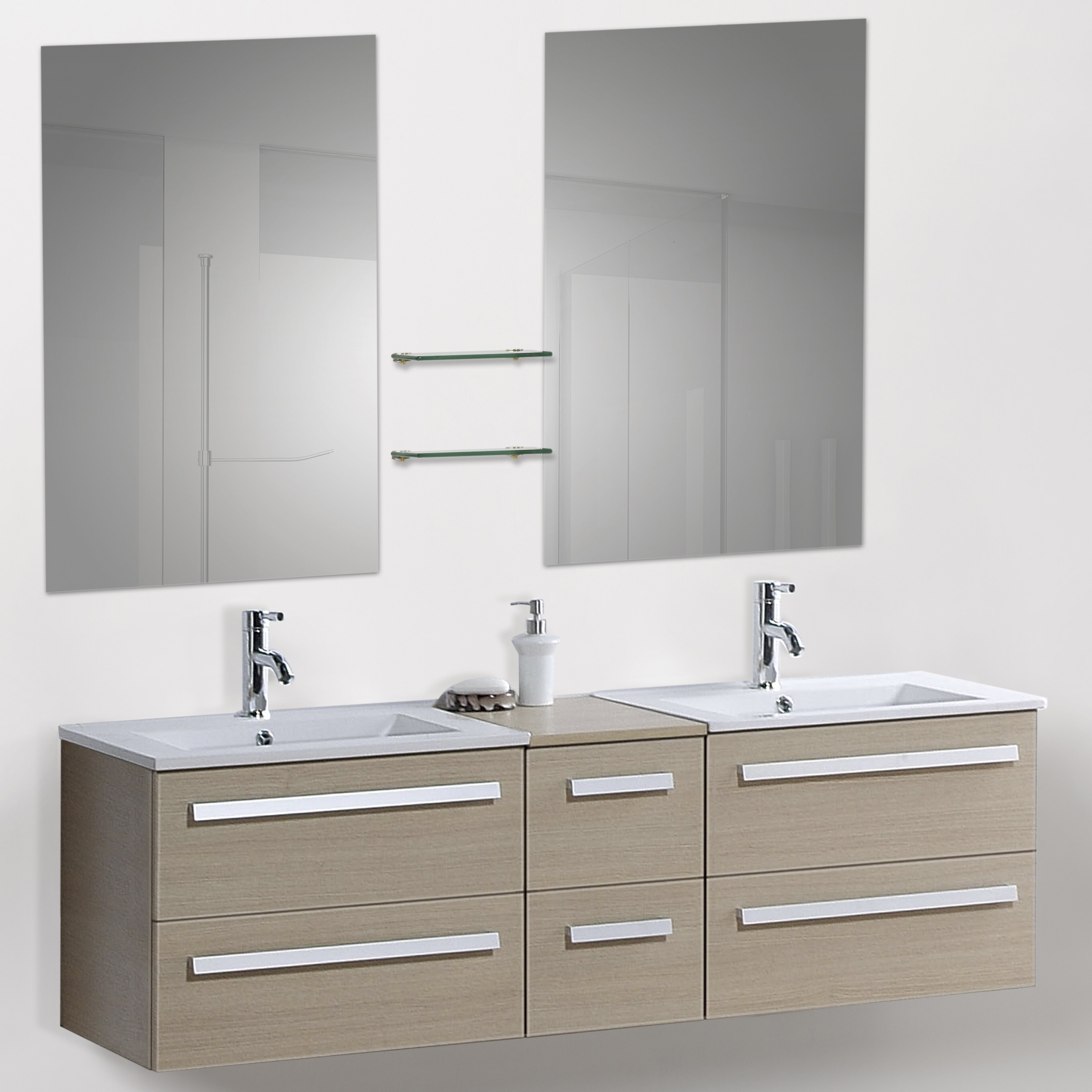 60quot; Modern Double Bathroom Vanity Set with Mirrors amp; Reviews  W