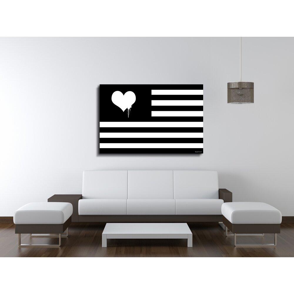 Moderate Love Flag Graphic Art On Wrapped Canvas Wayfair