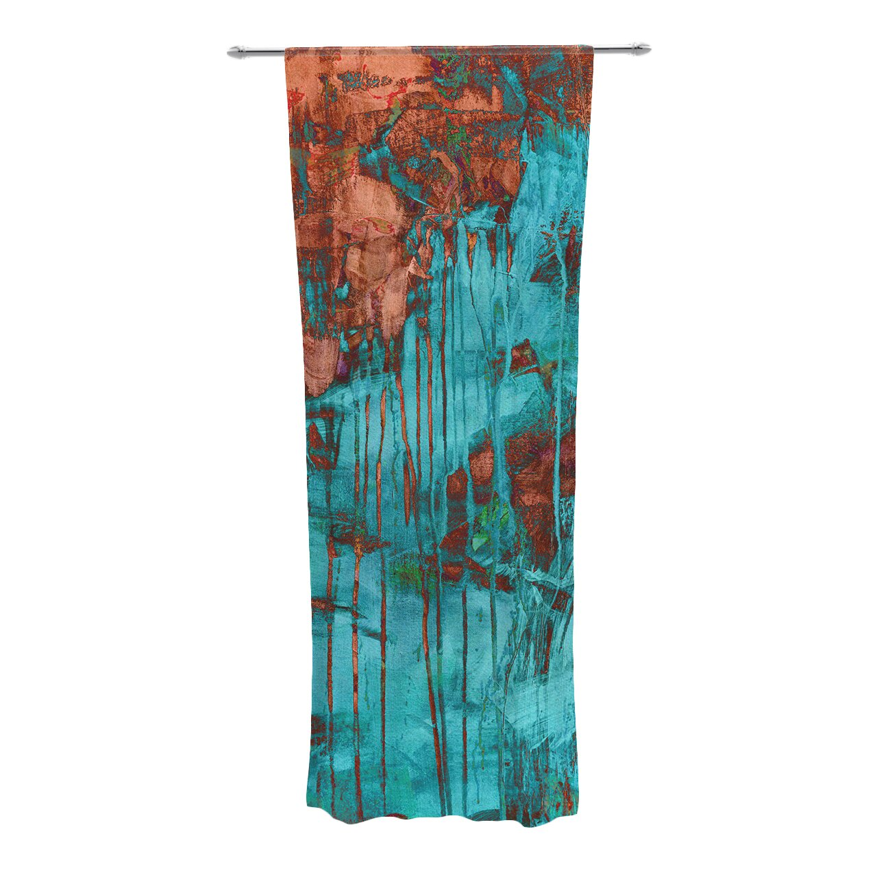 Rusty Teal Curtain Panels by KESS InHouse