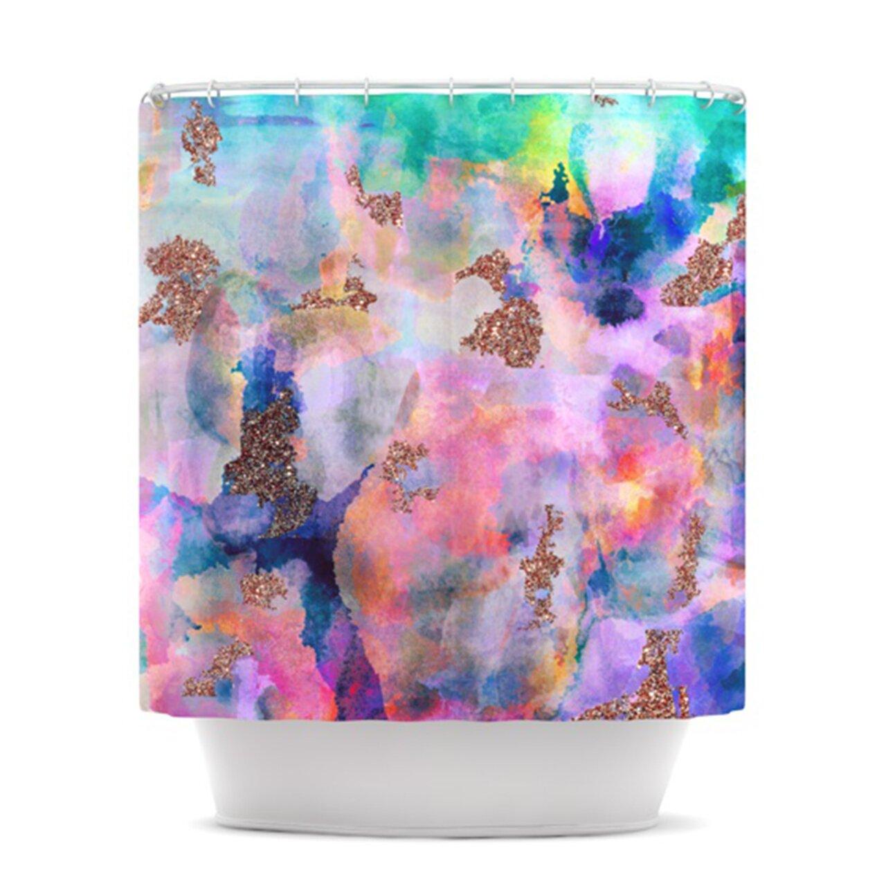sparkle mist shower curtain wayfair