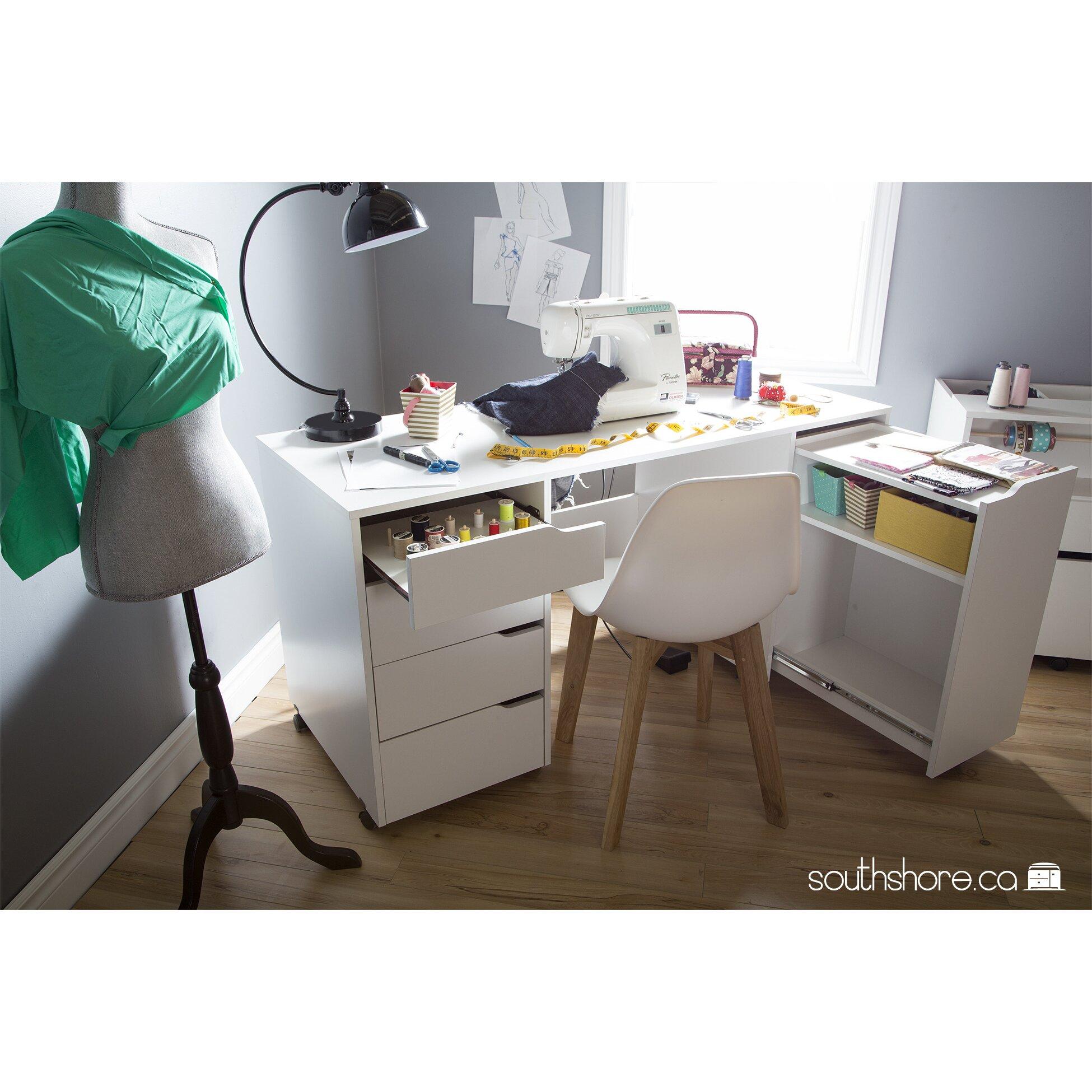 south shore crea w x d sewing table. Black Bedroom Furniture Sets. Home Design Ideas