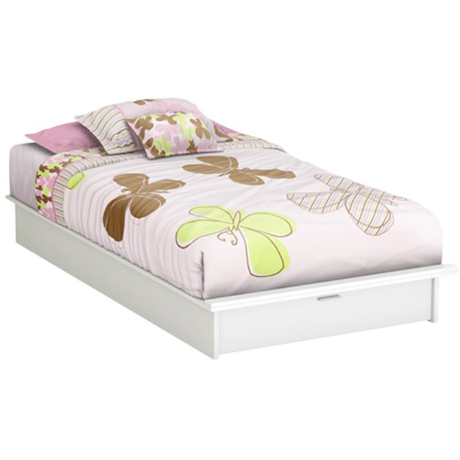 south shore twin platform bed with storage drawer white 2