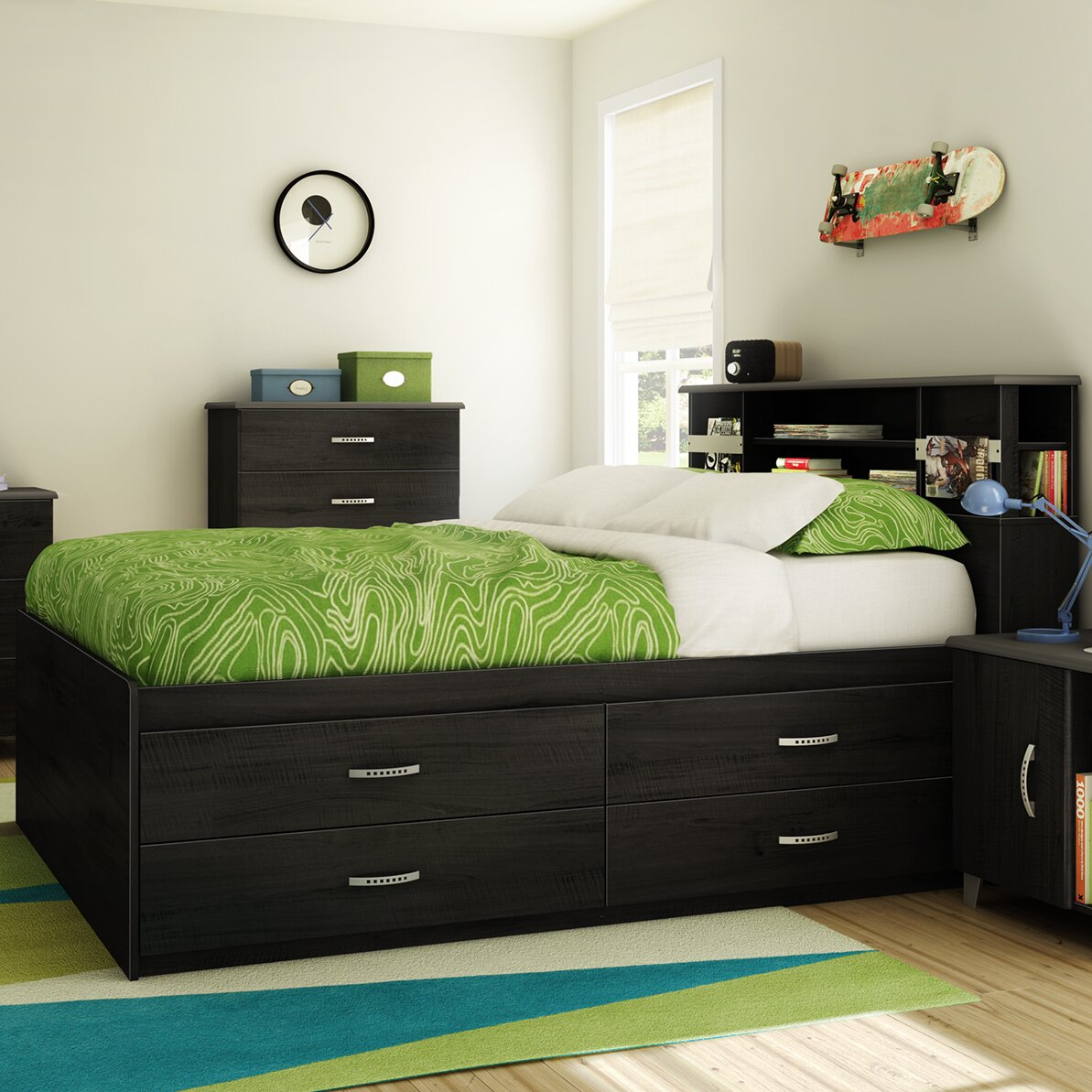 south shore lazer captain bed with storage reviews wayfair. Black Bedroom Furniture Sets. Home Design Ideas