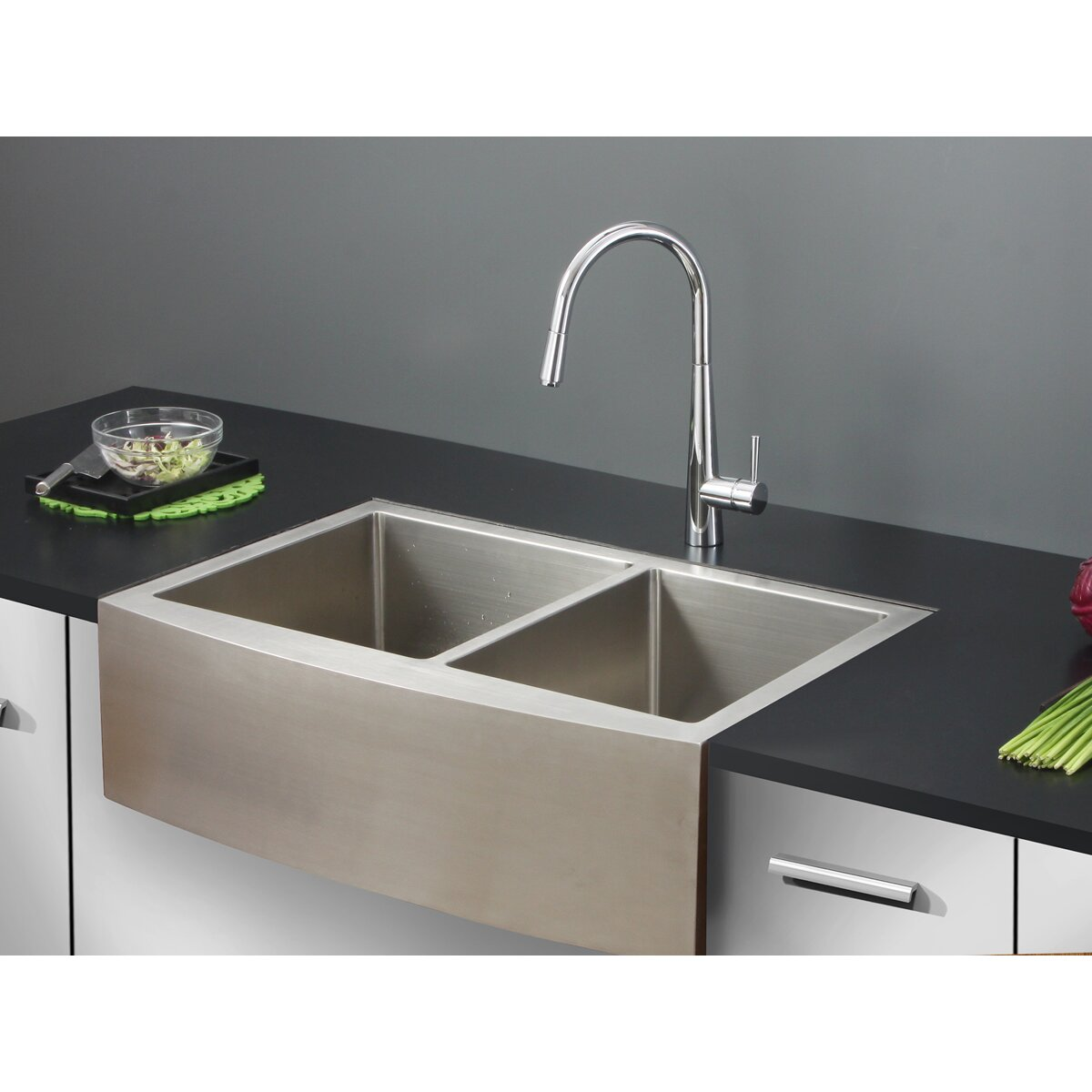 Ruvati verona 33 x 22 apron front double bowl kitchen sink reviews wayfair - Kitchen sinks apron front ...