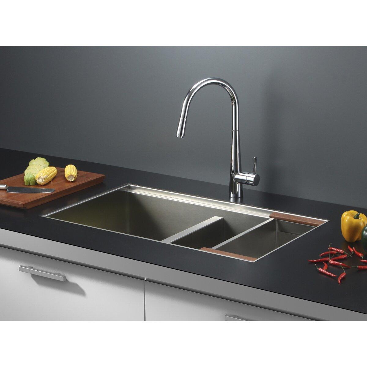 """Kitchen Sink 19 X 33: Ruvati Roma 33"""" X 19"""" Undermount Double Bowl Kitchen Sink"""